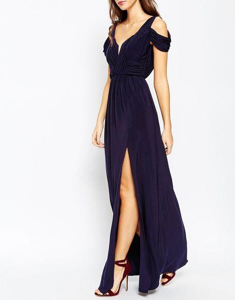 Asos multicolor wedding drape cold shoulder maxi dress for Navy maxi dresses for weddings