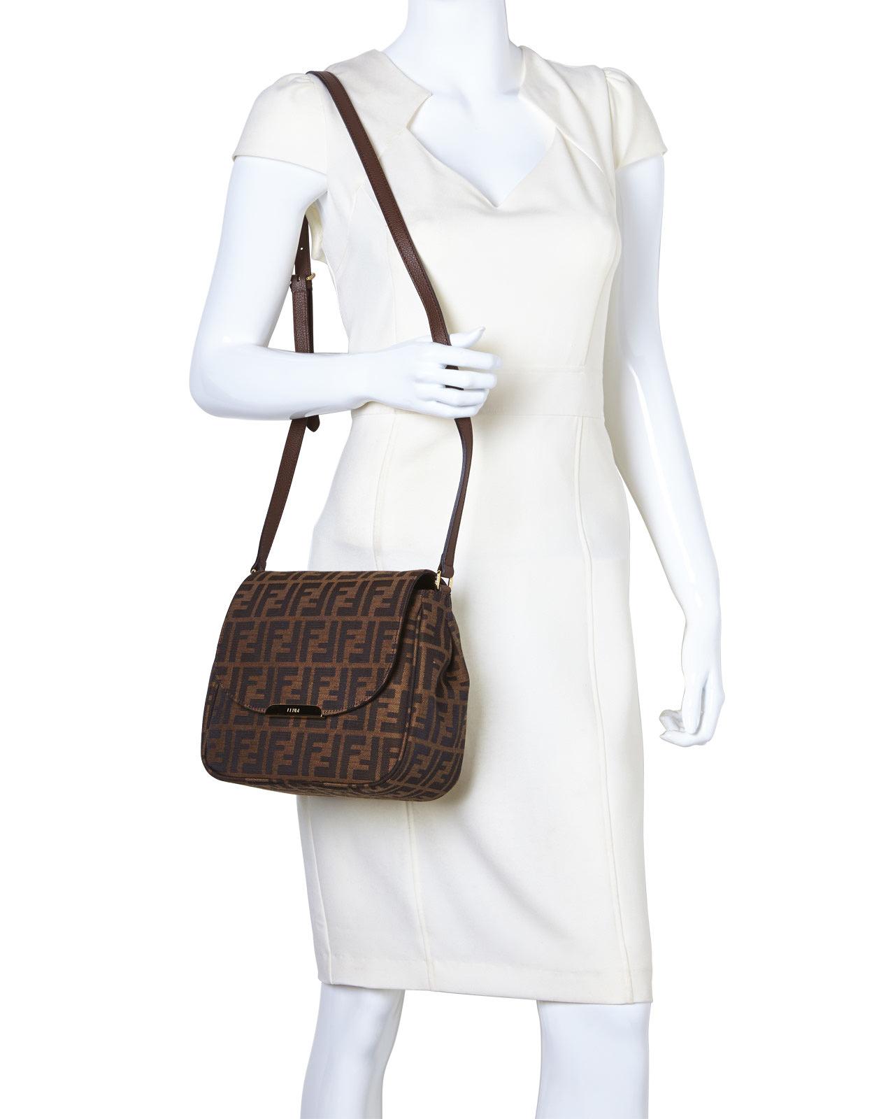 7470f35c2699 ... canvas shoulder bag dbbef 2a07c  purchase lyst fendi zucca crossbody bag  in metallic f56e5 6b438