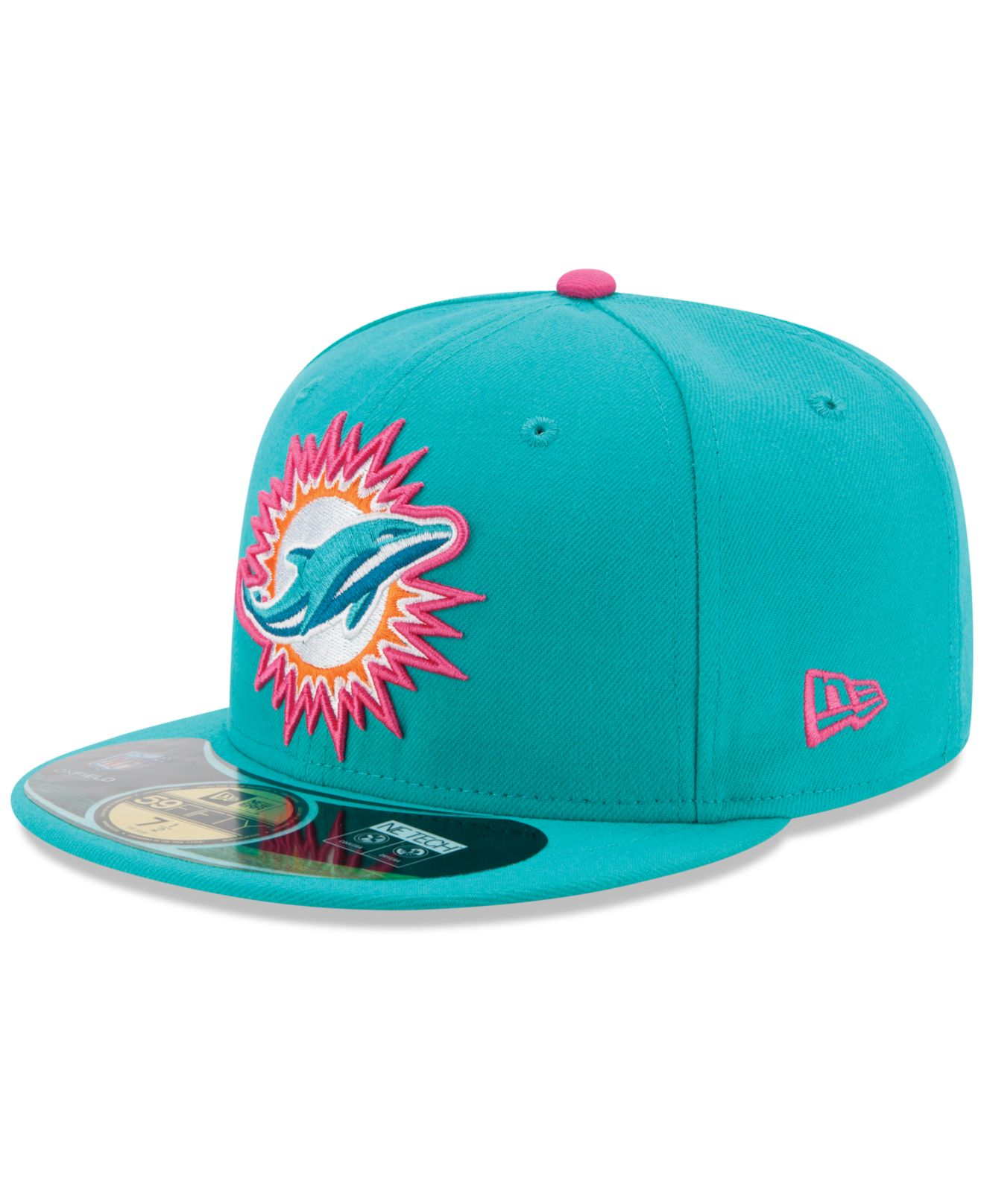 e67ae0357 ... knit where to buy lyst ktz miami dolphins breast cancer awareness  59fifty cap in blue for men ...