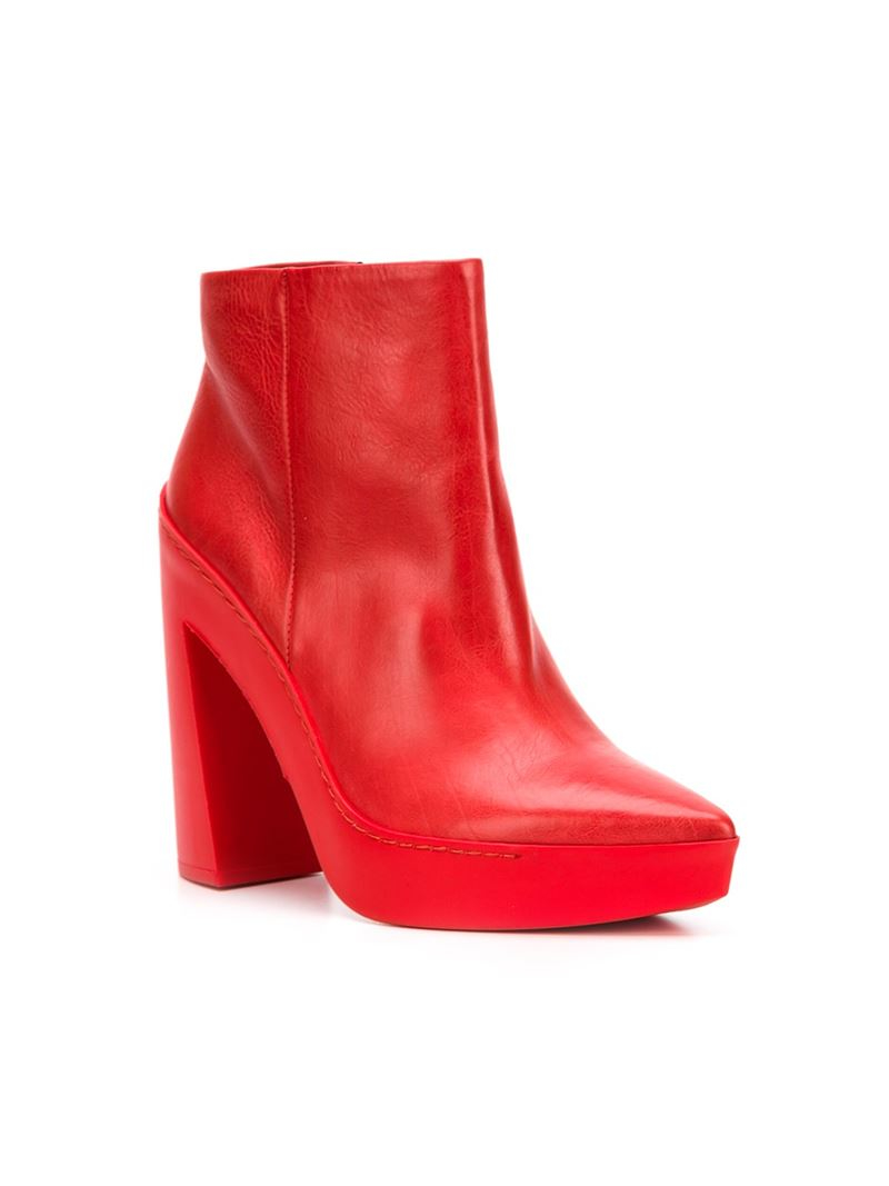 Lyst - Vic matié Chunky Heel Boots in Red