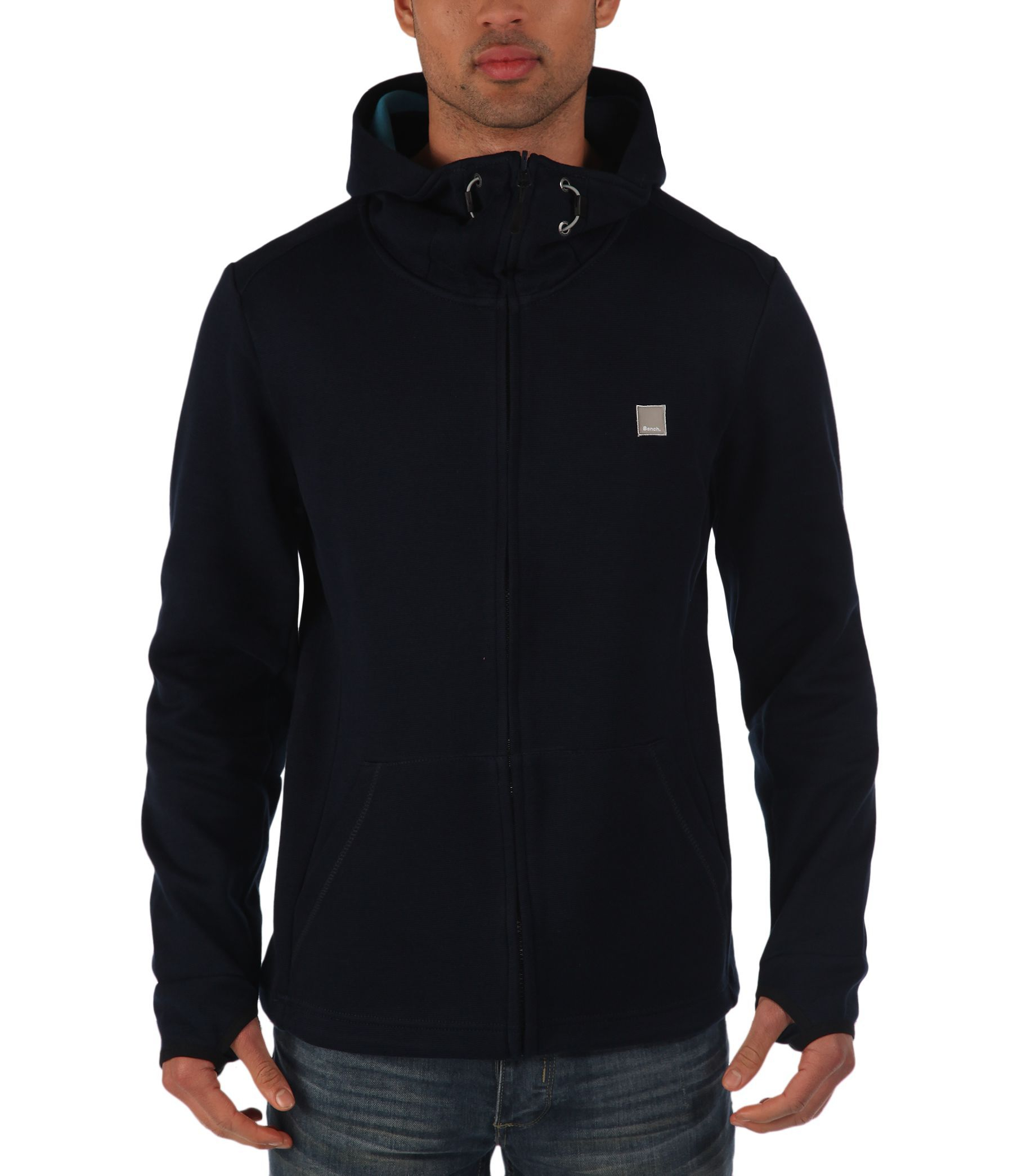 bench assertive plain zip thru hoodie in blue for men lyst