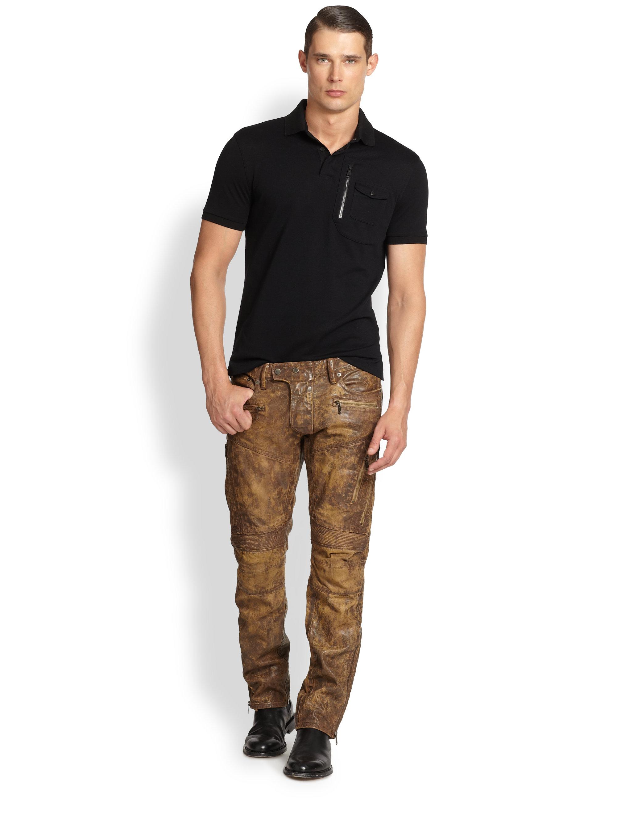 Ralph Lauren Black Label Raider Coated Moto Jeans In Brown