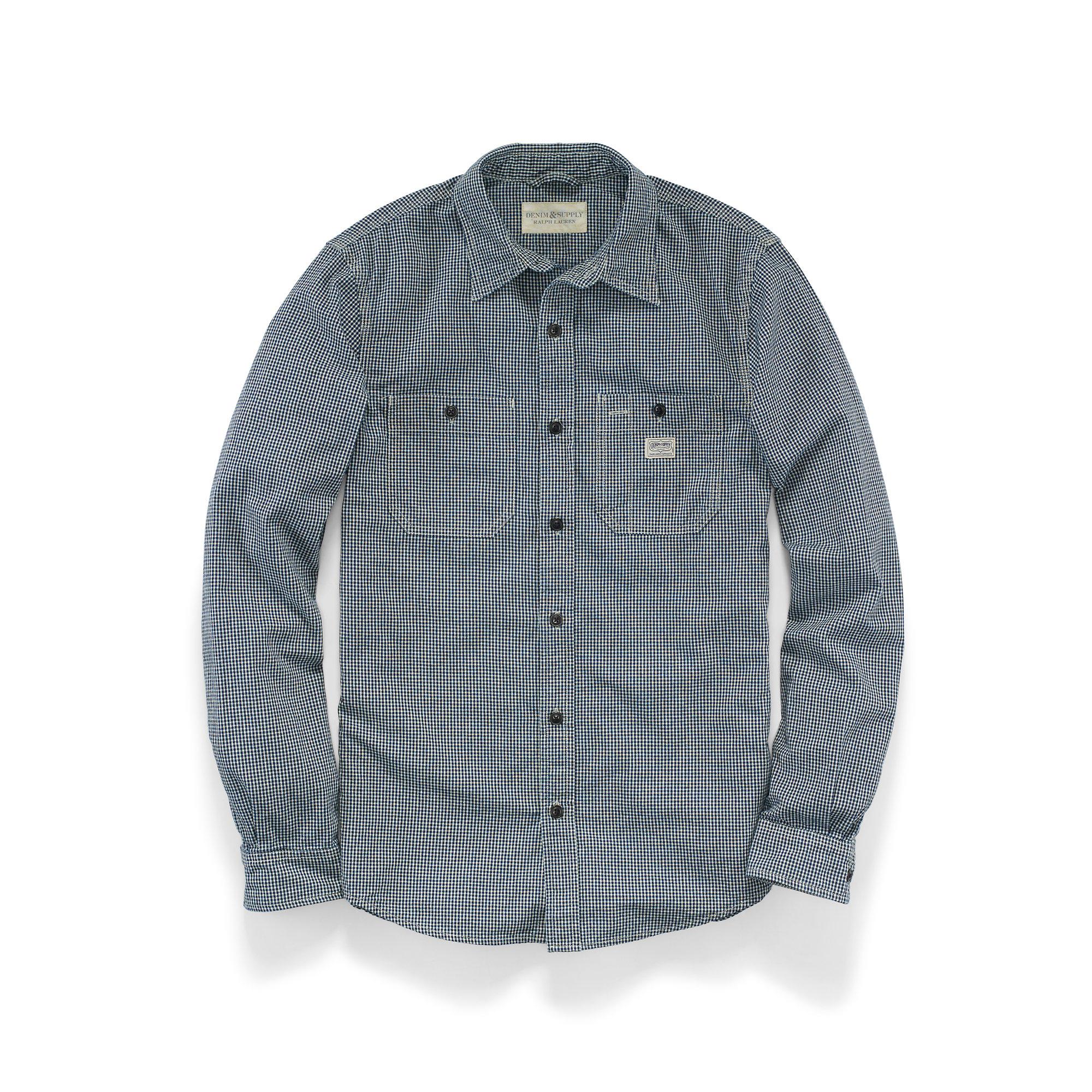 Lyst denim supply ralph lauren cotton cooper workshirt for Blue cotton work shirts