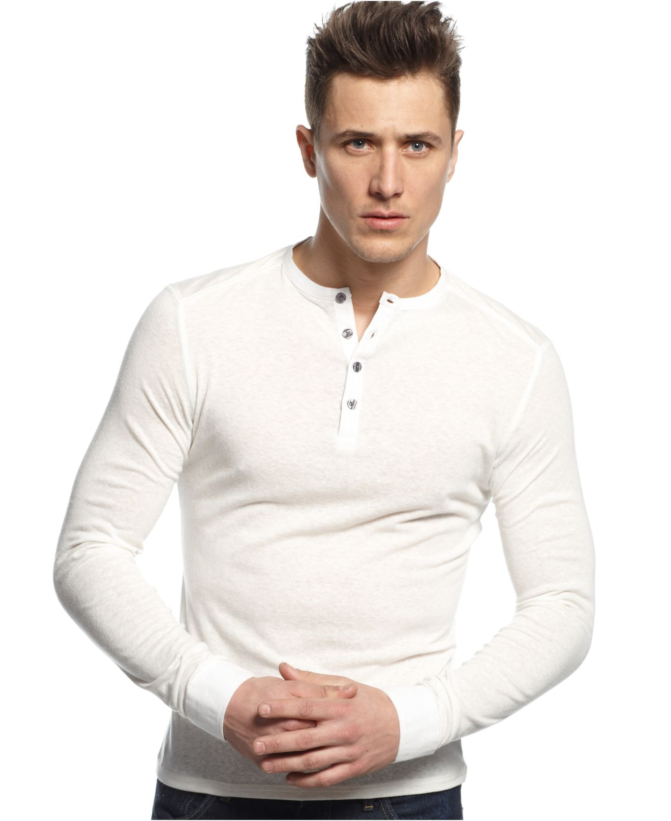 vince camuto slim fit long sleeve henley shirt in white