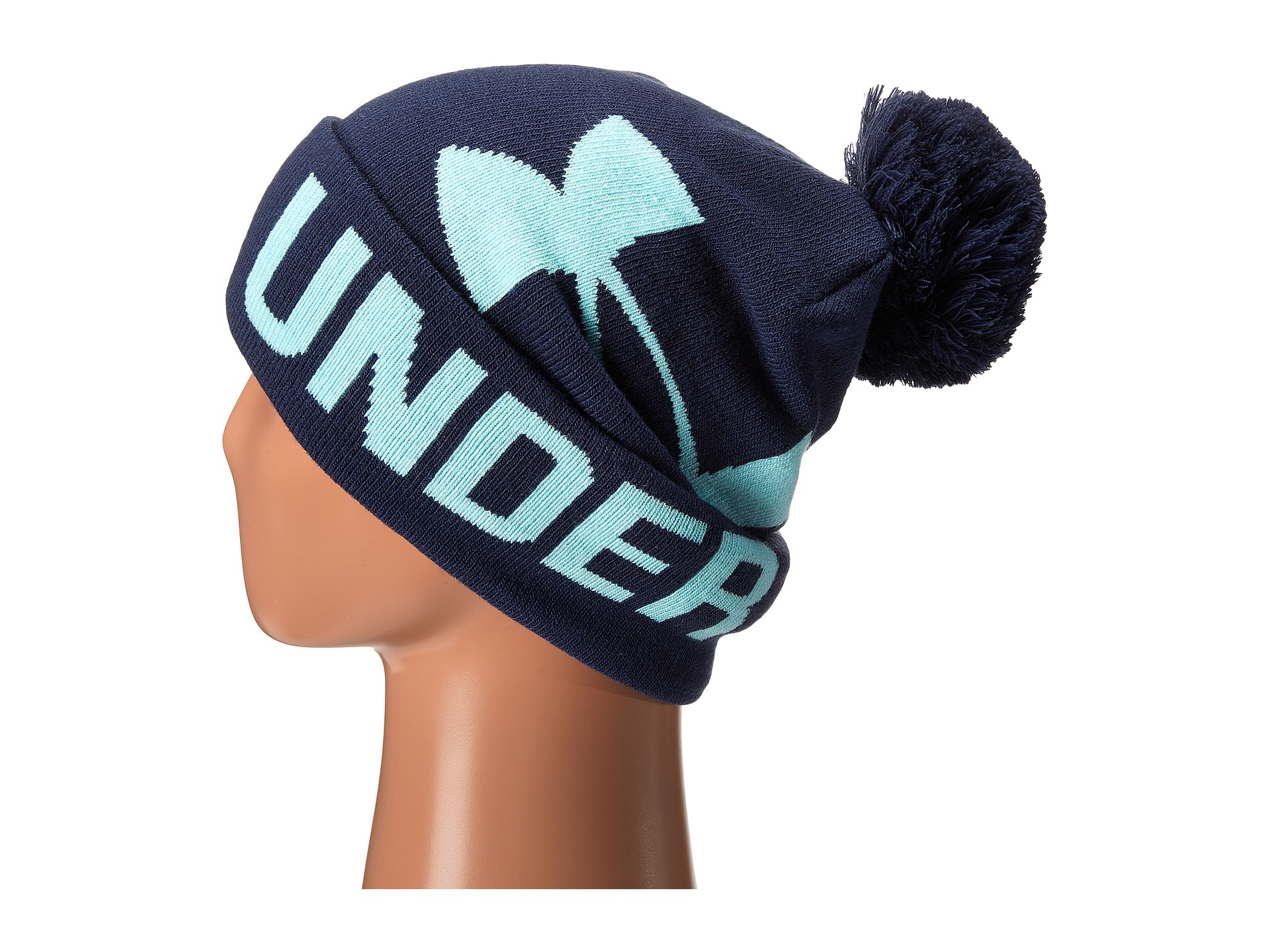 bd43d20553d87 ... free shipping lyst under armour ua graphic pom pom beanie in blue 84240  e4a87 ...