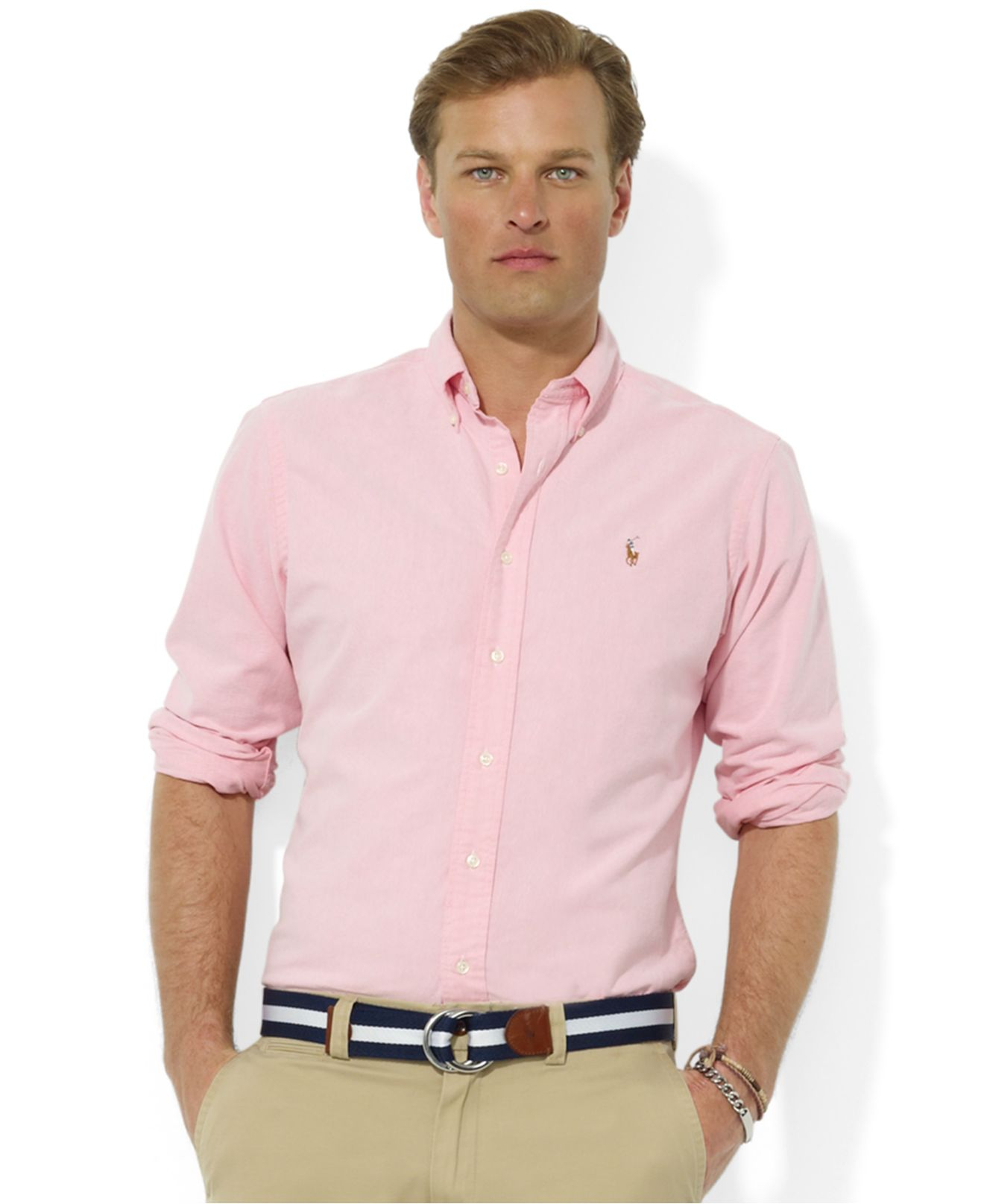 fe522a946bd5 Lyst - Polo Ralph Lauren Core Classic Fit Oxford Shirt in Pink for Men
