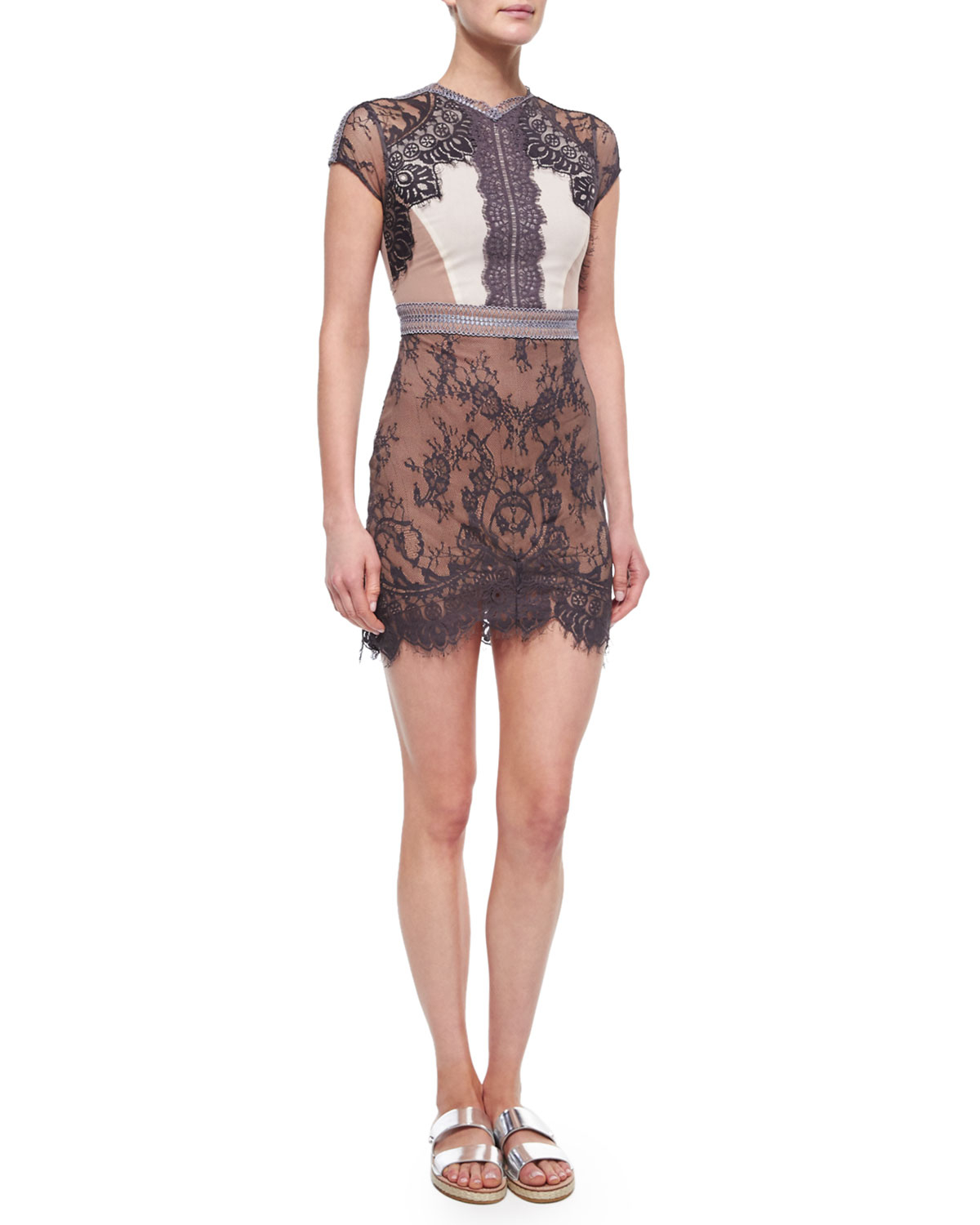 Self-portrait Short-Sleeve Lace Sequence Dress in Black  Lyst