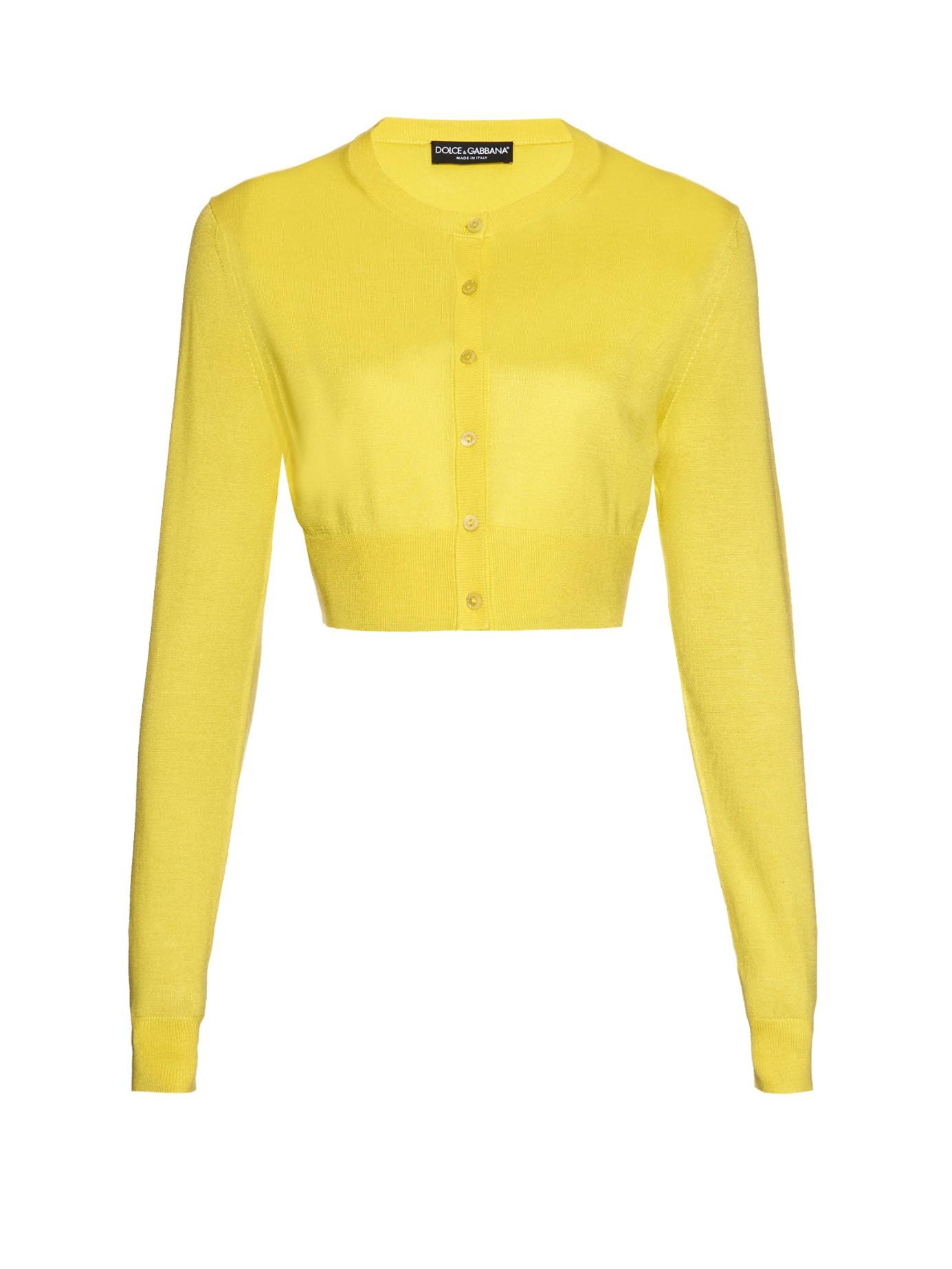 Dolce & gabbana Cropped Silk Cardigan in Yellow   Lyst