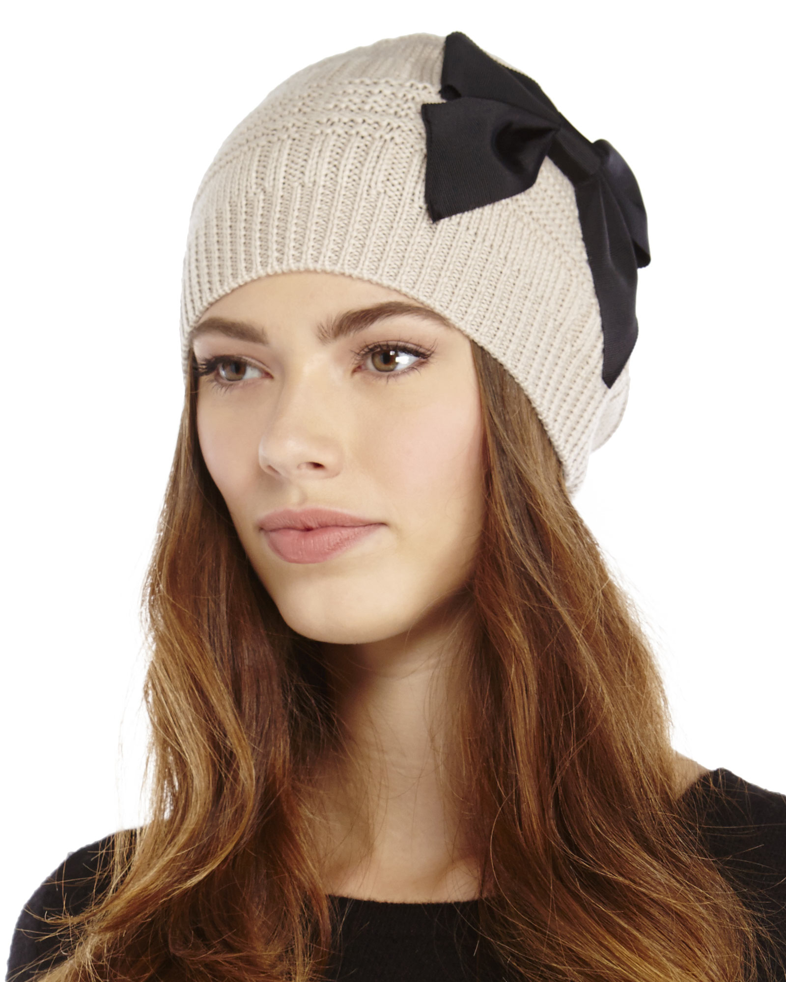 0ef6756ba39fa Kate Spade Plaid Stitch Bow Beanie in Black - Lyst
