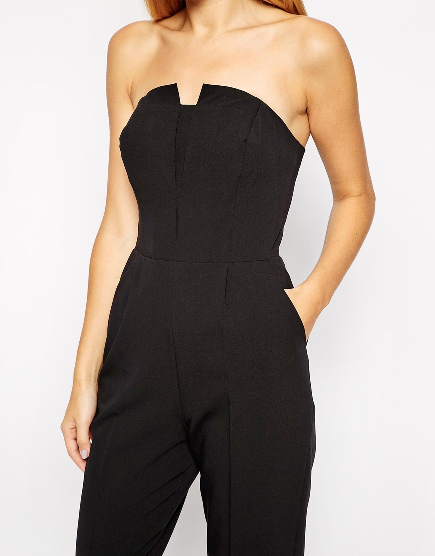 lyst asos pleated origami jumpsuit in black