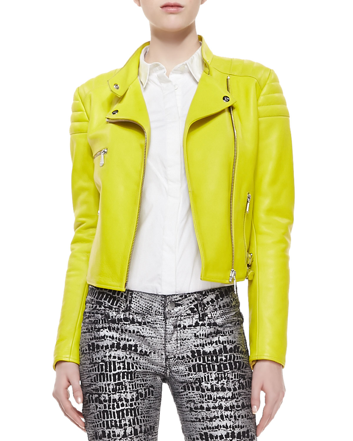 Lyst - Mcq Neon Leather Zip Biker Jacket in Green