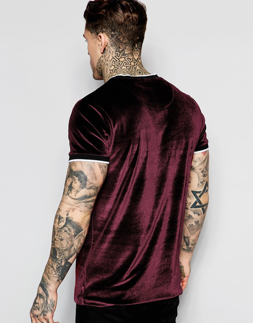 Lyst Jaded London Velour T Shirt In Purple For Men
