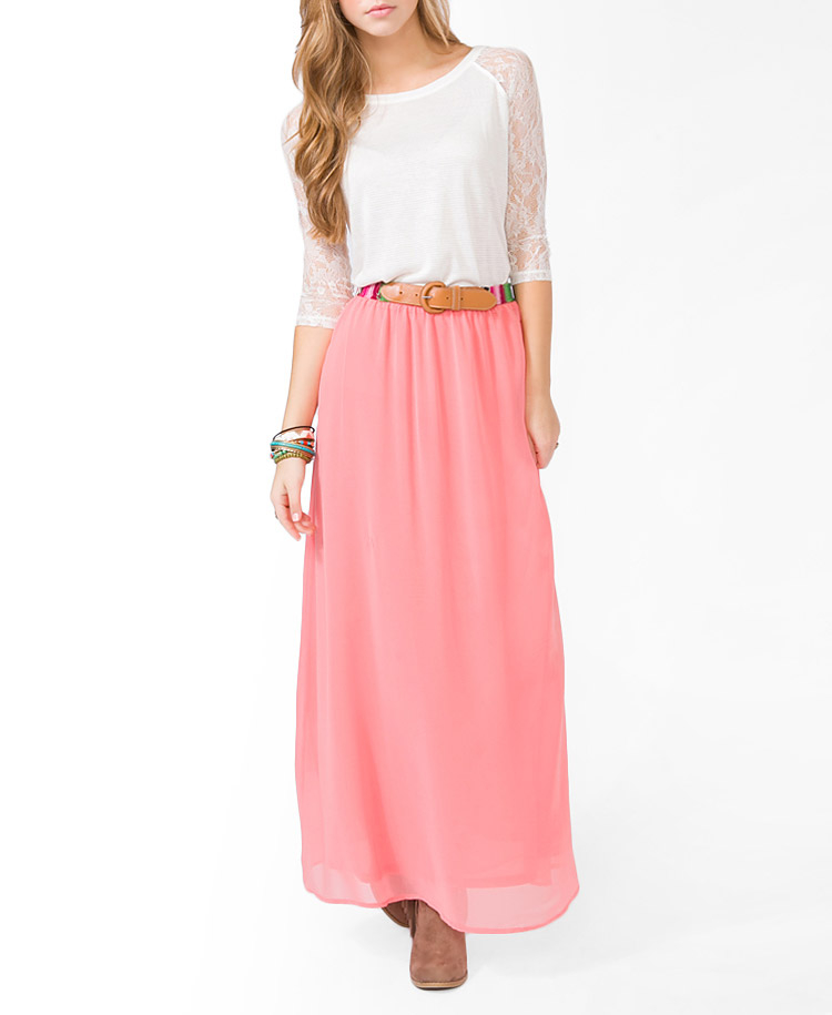 Forever 21 Chiffon Maxi Skirt in Pink | Lyst