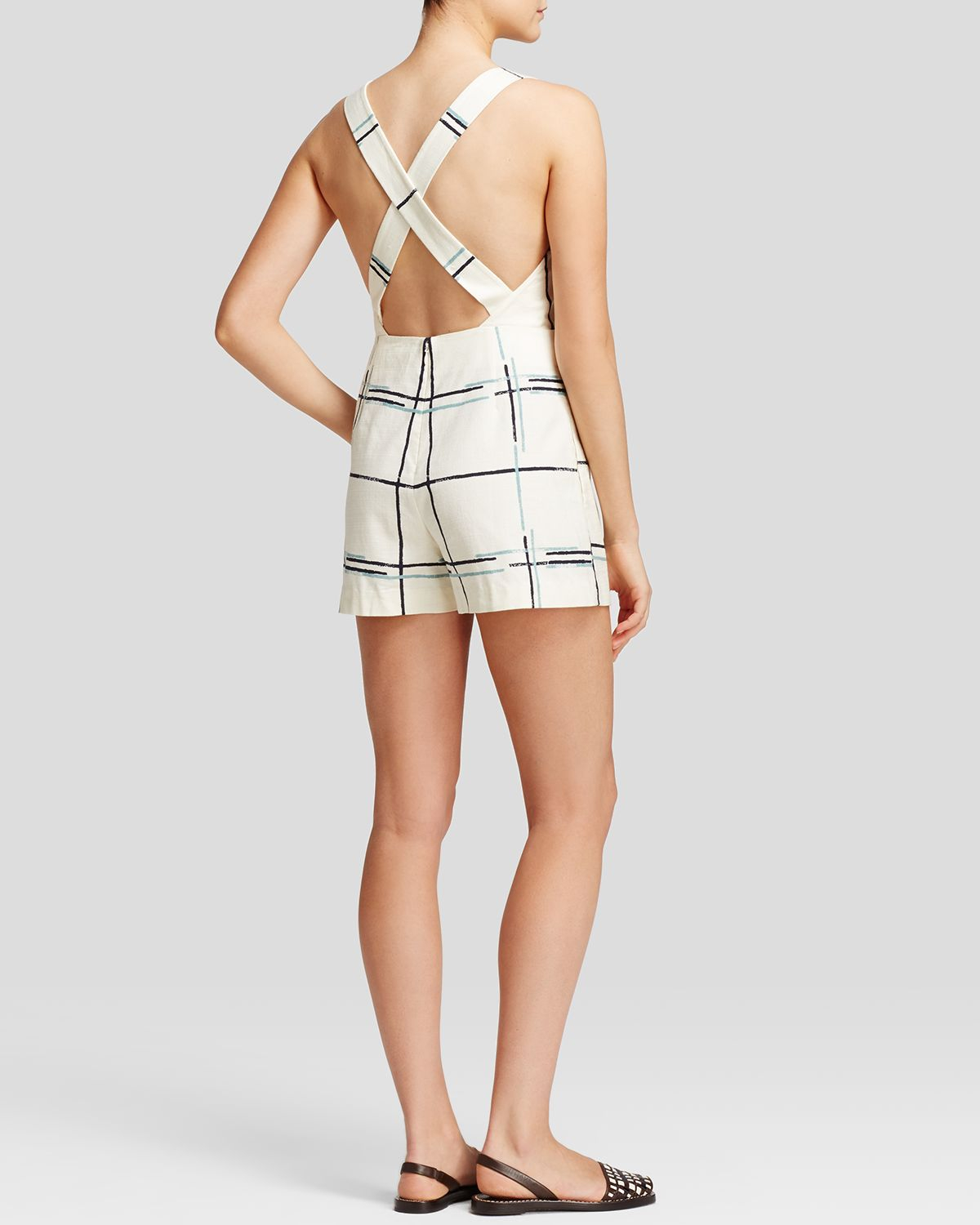 d77f75324c0d Lyst - Tory Burch Grid Print Romper in White