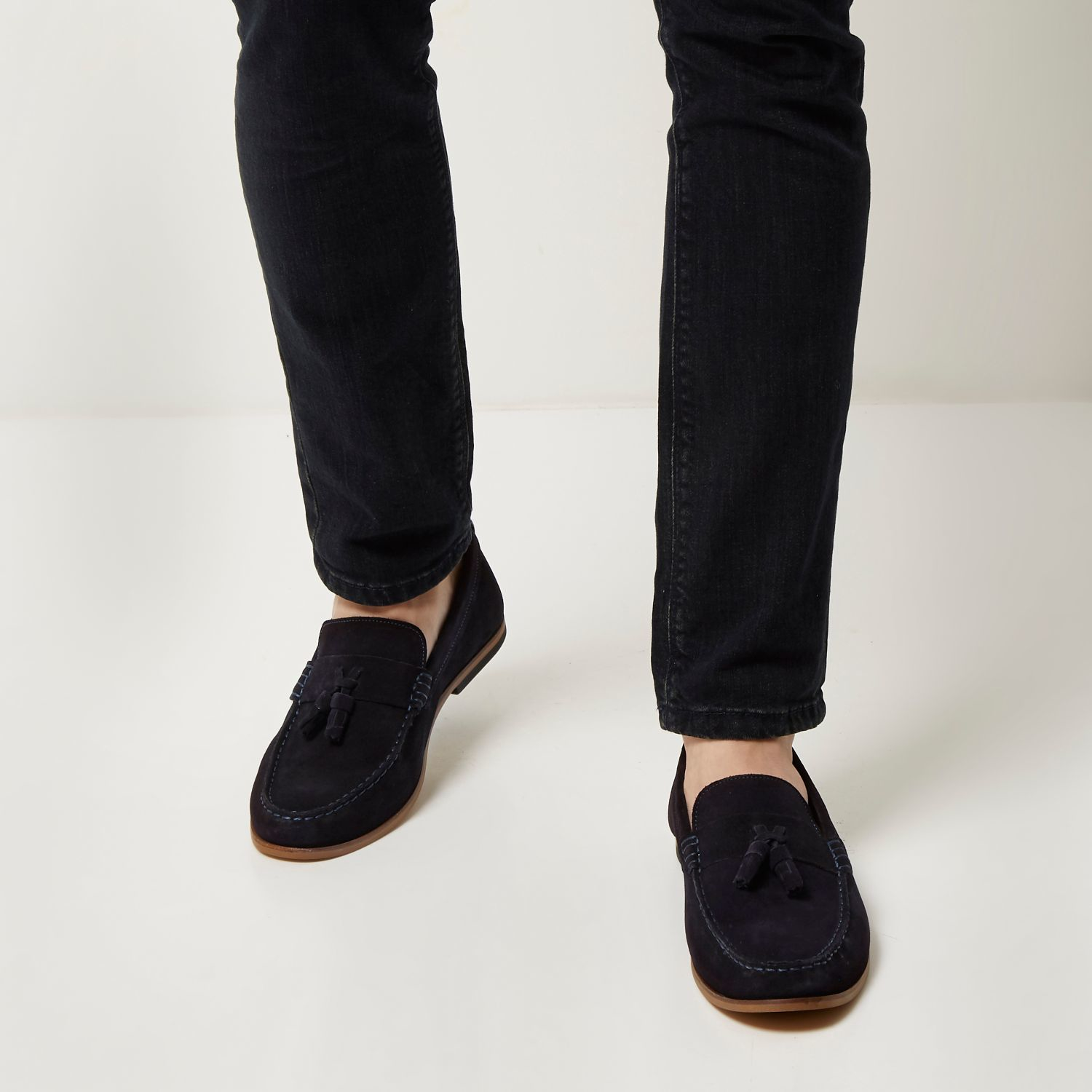 Mens Black suede woven tassel loafers River Island Marketable For Sale Clearance Clearance Exclusive uZXwO0nv