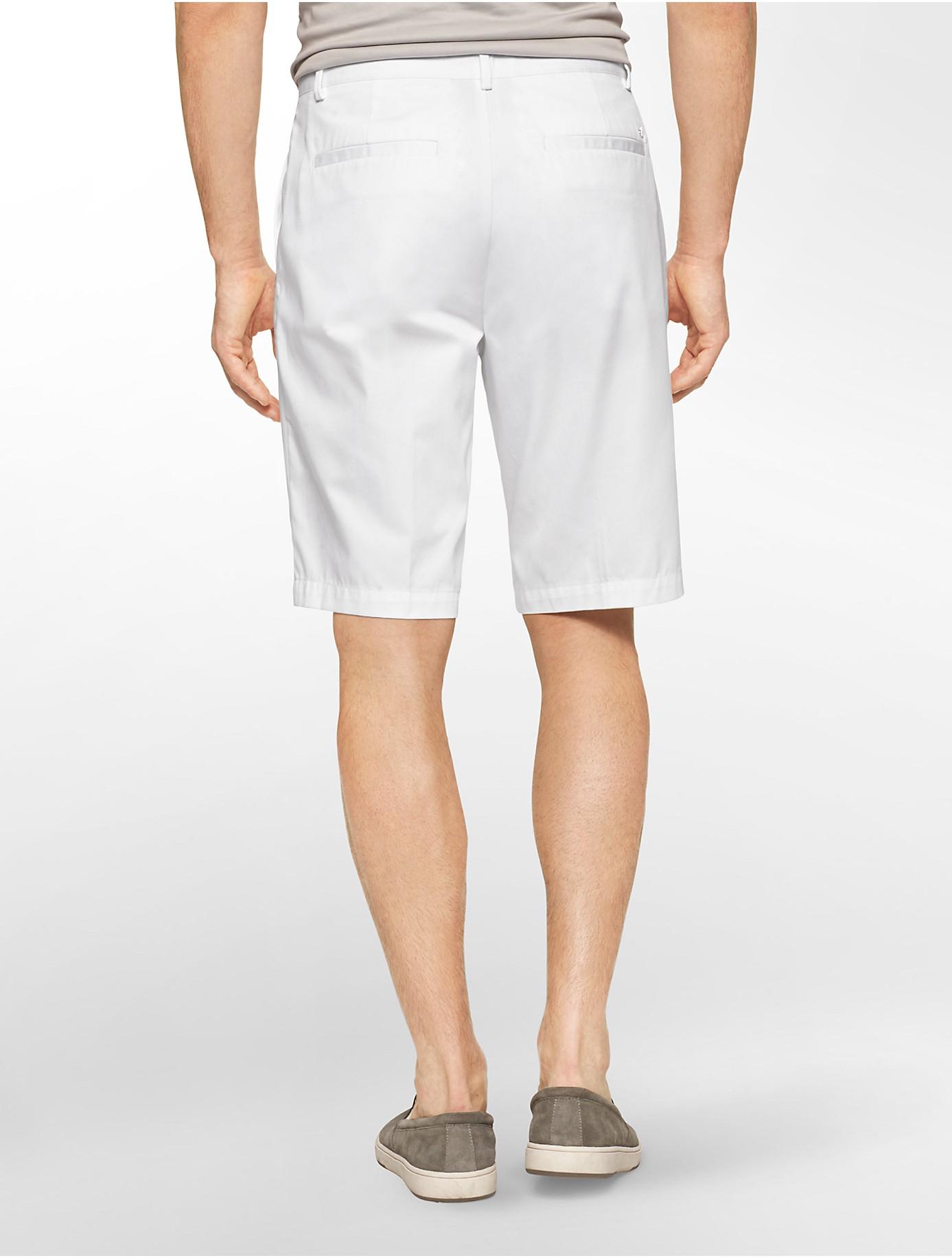 Calvin klein White Label Slim Fit Chino Walking Shorts in White ...