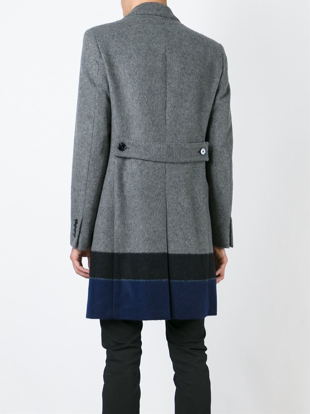 raf simons colour block coat in gray for men grey lyst. Black Bedroom Furniture Sets. Home Design Ideas