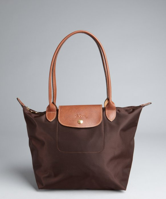 longchamp brown nylon le pliage small shopper tote in. Black Bedroom Furniture Sets. Home Design Ideas