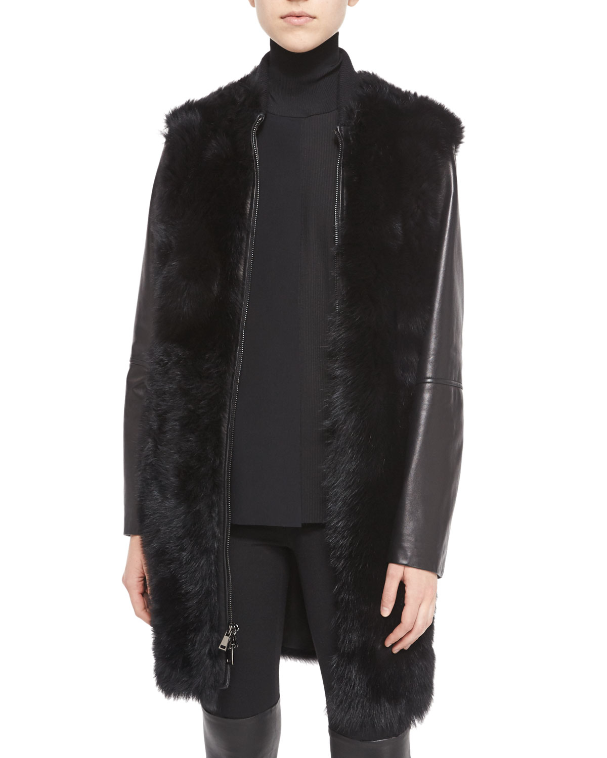 Vince Leather-sleeve Shearling Fur Coat in Black | Lyst