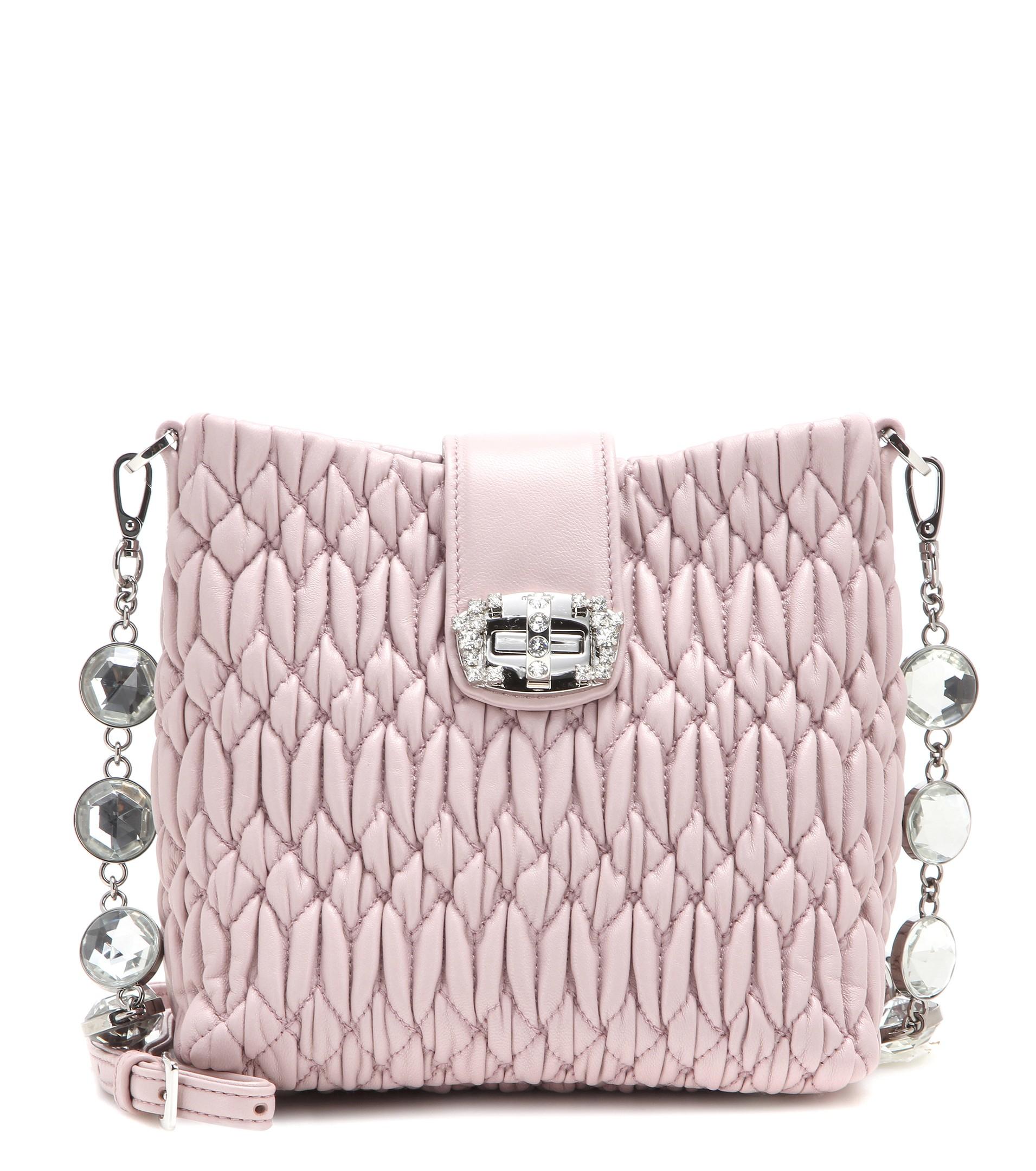 Miu Miu Matelassé Leather Shoulder Bag in Pink - Lyst 21eb8f90ce0d0