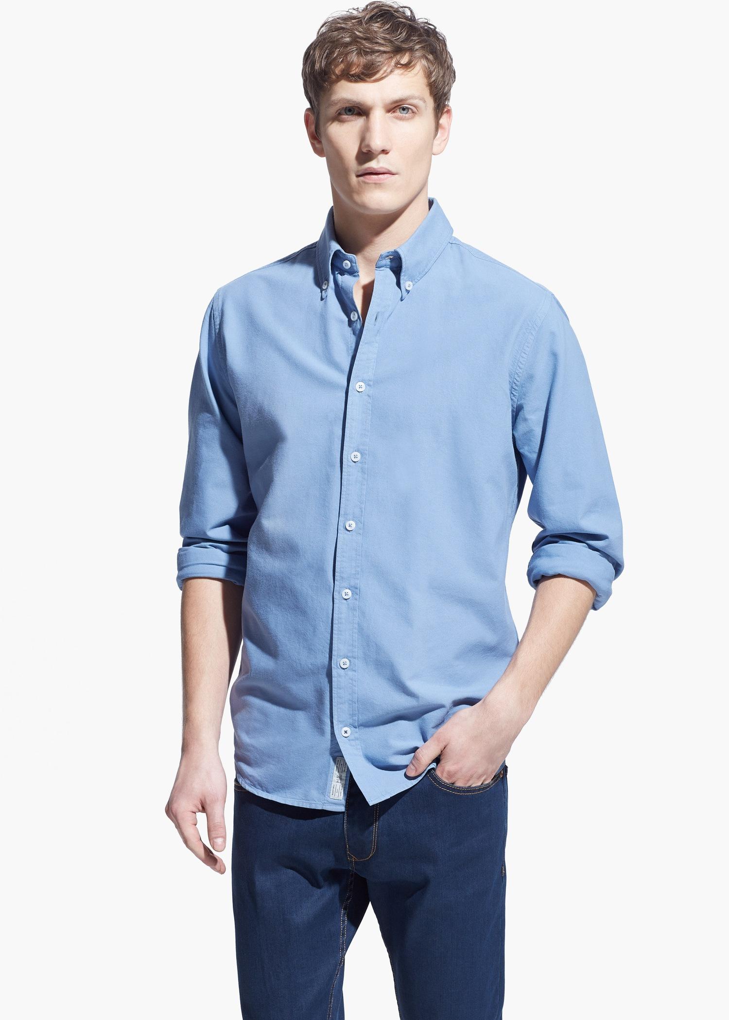 Lyst mango slim fit cotton oxford shirt in blue for men for Slim fit cotton shirts