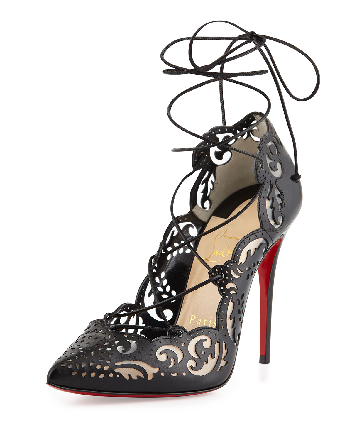 e4028fd37189 Lyst - Christian Louboutin Impera Laceup Lasercut Red Sole Pump Black in  Black