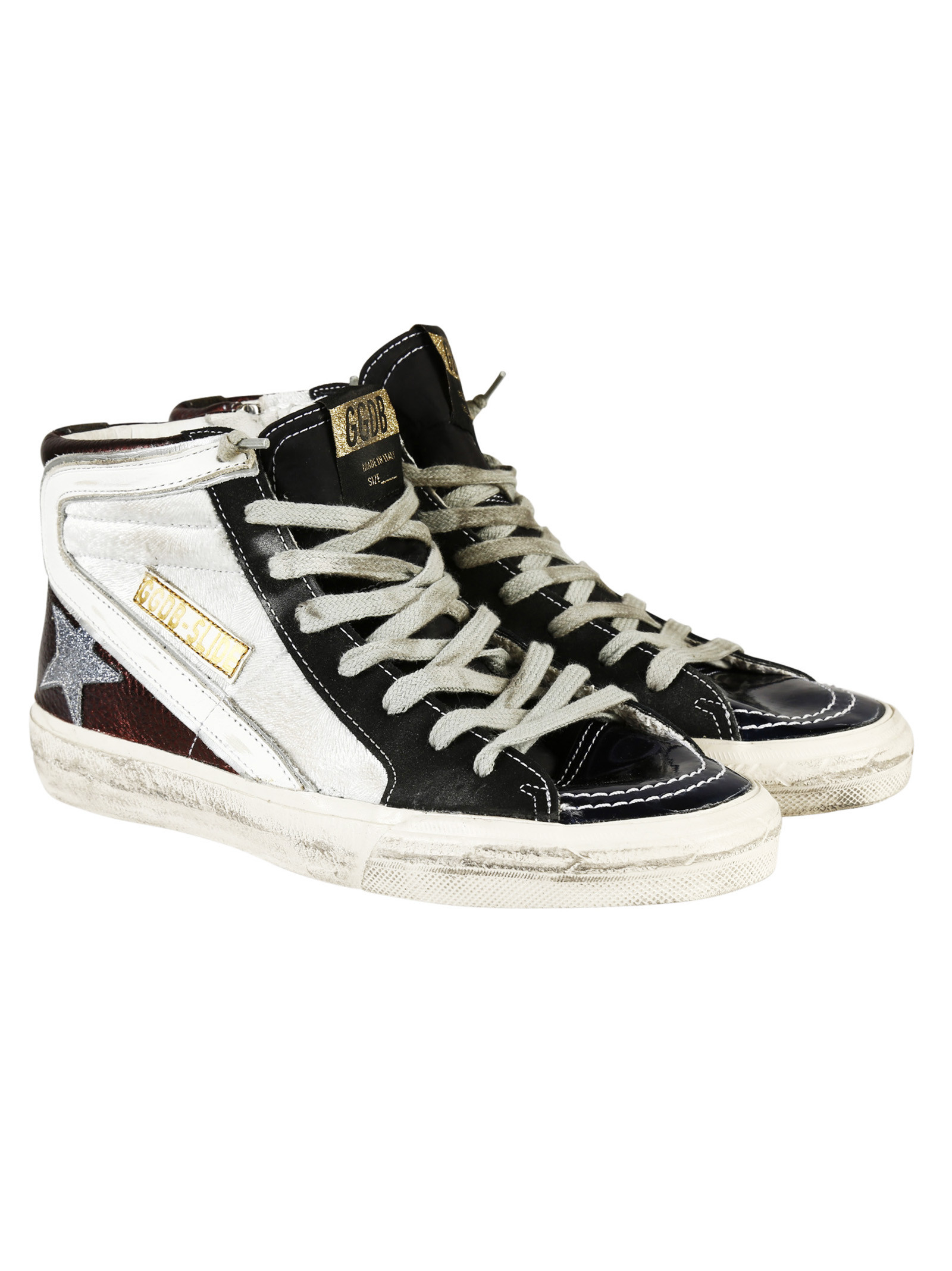 golden goose deluxe brand white slide hi top sneakers lyst. Black Bedroom Furniture Sets. Home Design Ideas