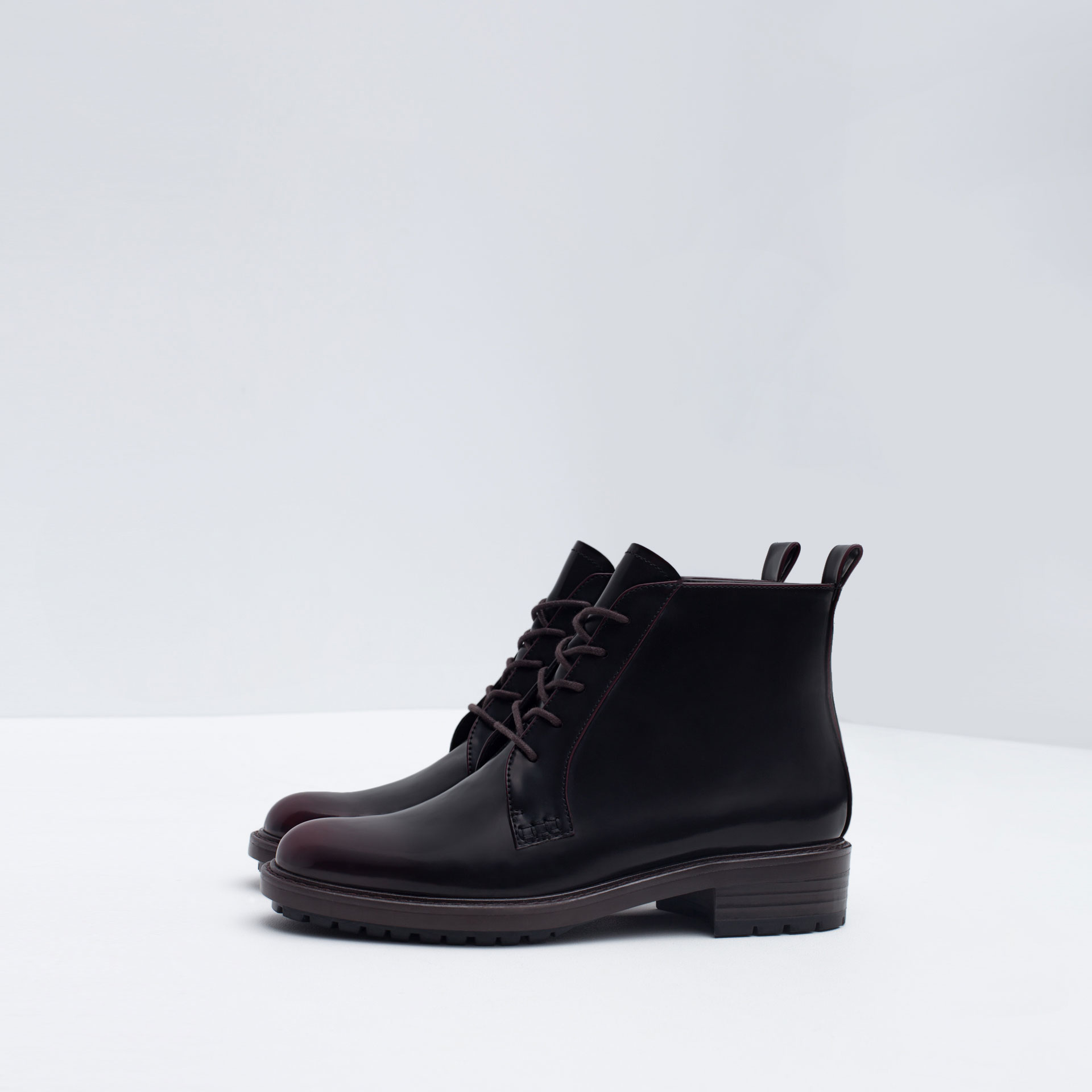 zara flat ankle boots with laces in purple lyst
