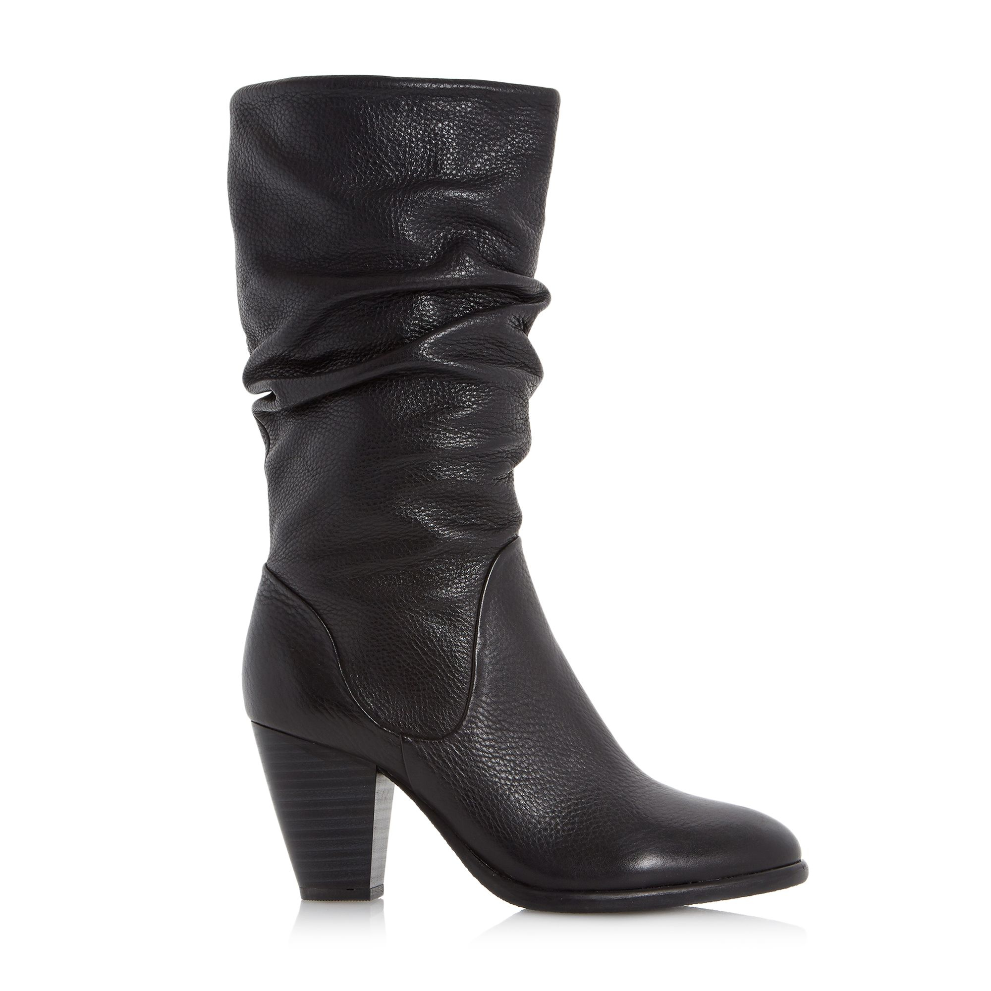 dune rossy slouchy leather pull on calf boots in black