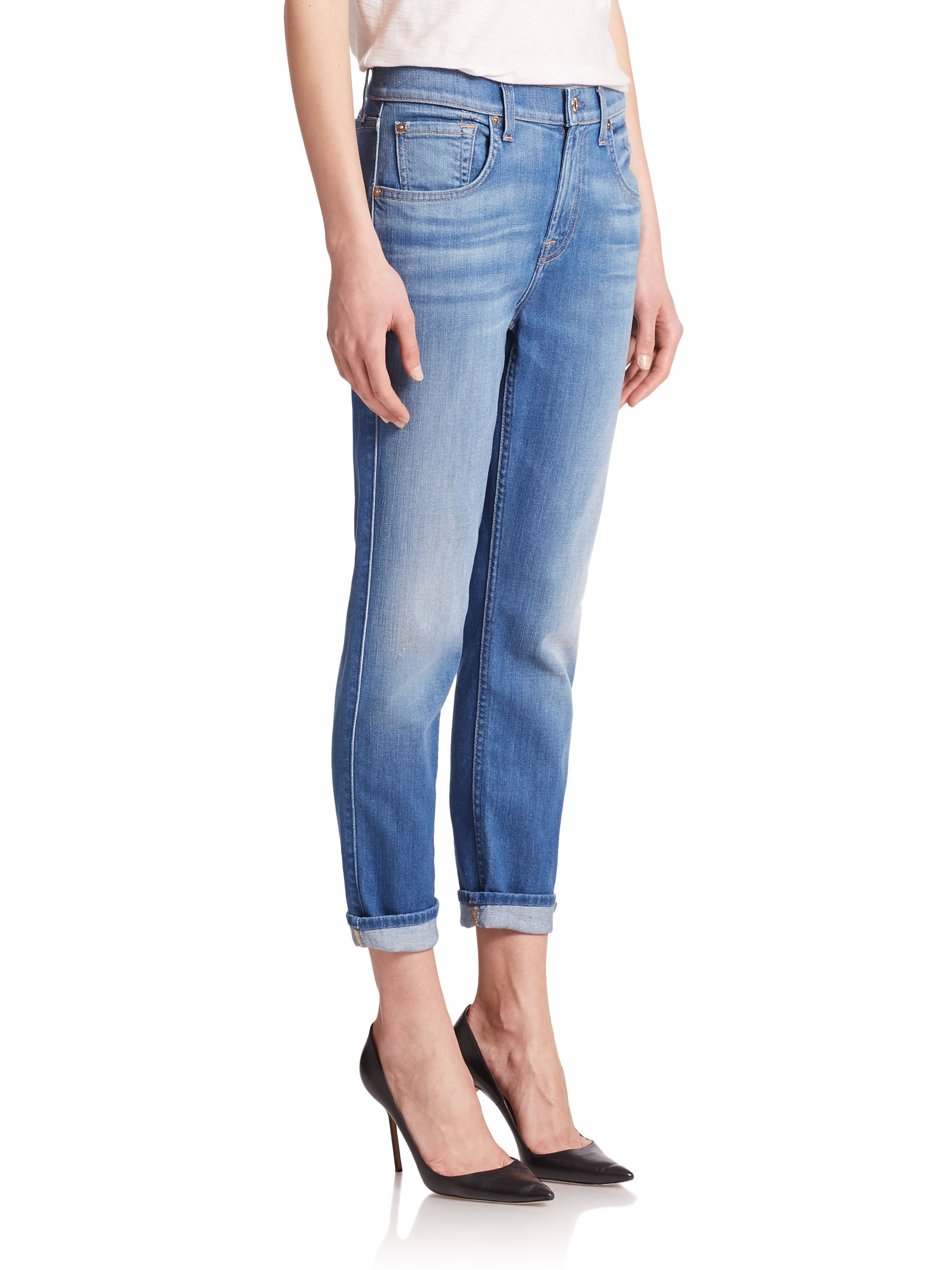 7 for all mankind Relaxed Cropped Roll-up Skinny Jeans in Blue | Lyst