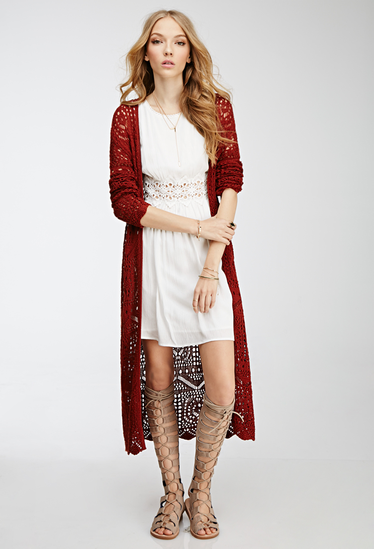 Forever 21 Longline Crochet Cardigan in Red | Lyst