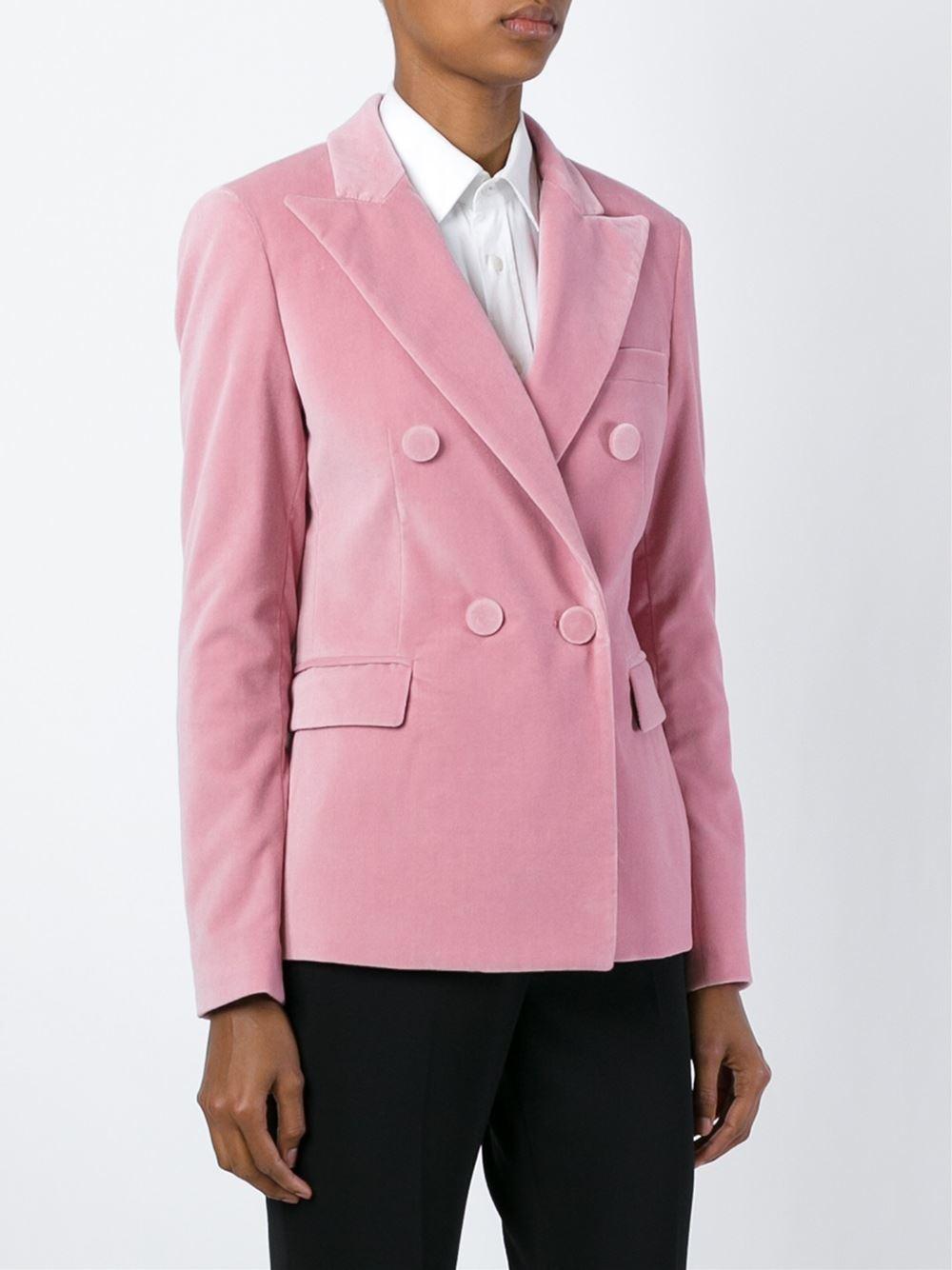 Msgm Peaked Lapels Velvet Blazer in Pink | Lyst