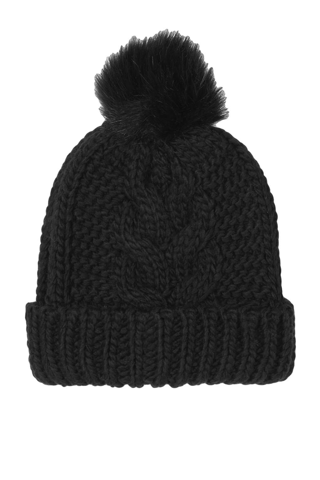 Topshop Cable Faux Fur Pom Beanie In Black Lyst