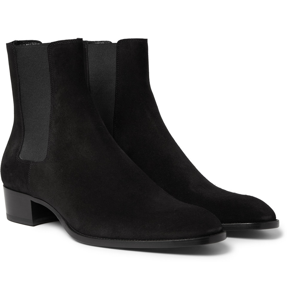 lyst saint laurent suede chelsea boots in black for men. Black Bedroom Furniture Sets. Home Design Ideas