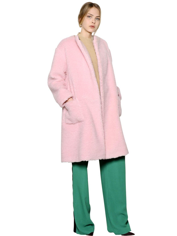 Rochas Plush Wool Blend Coat in Pink for Men   Lyst