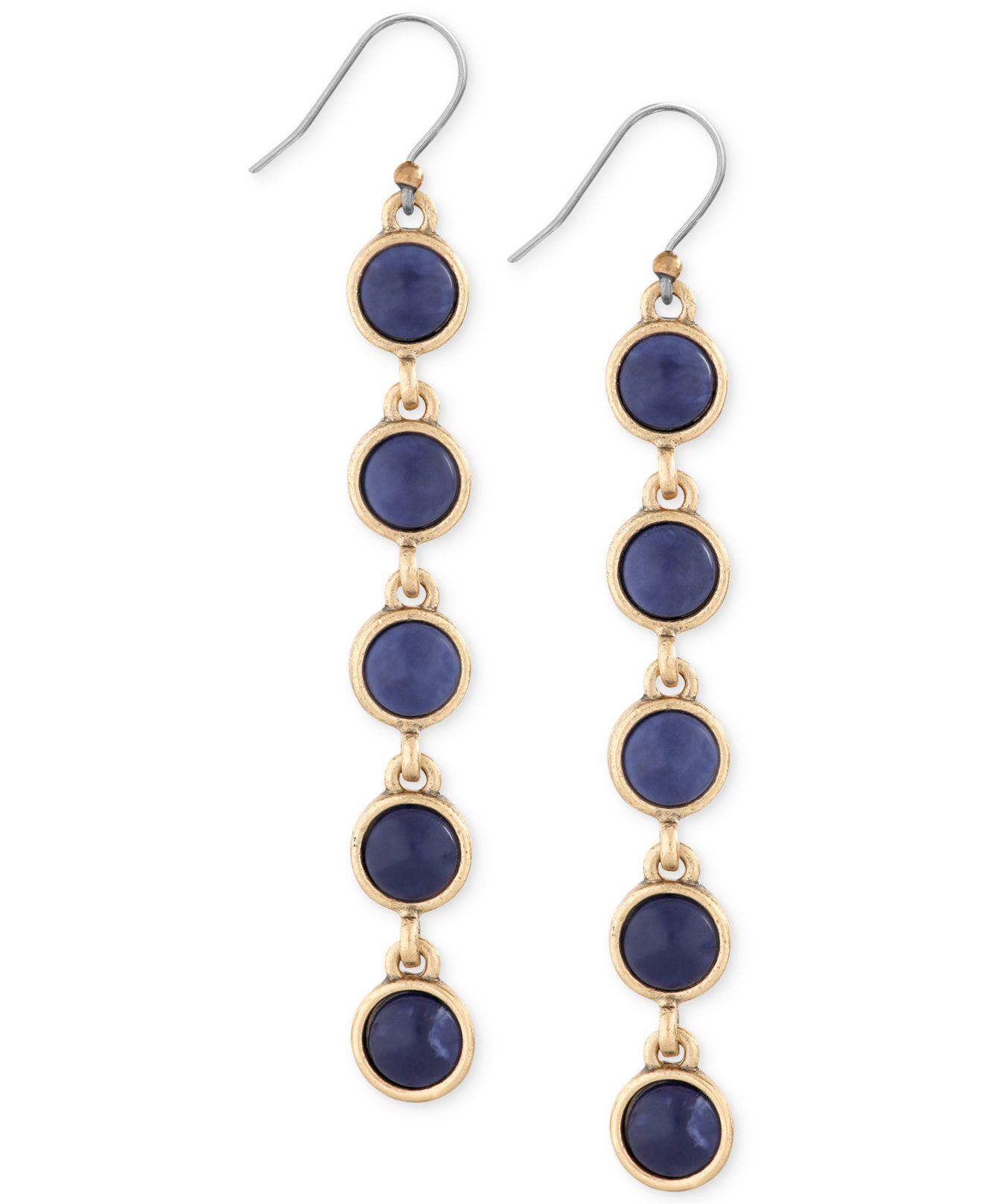 Lucky Brand Gold Tone Blue Stone Linear Drop Earrings In Metallic