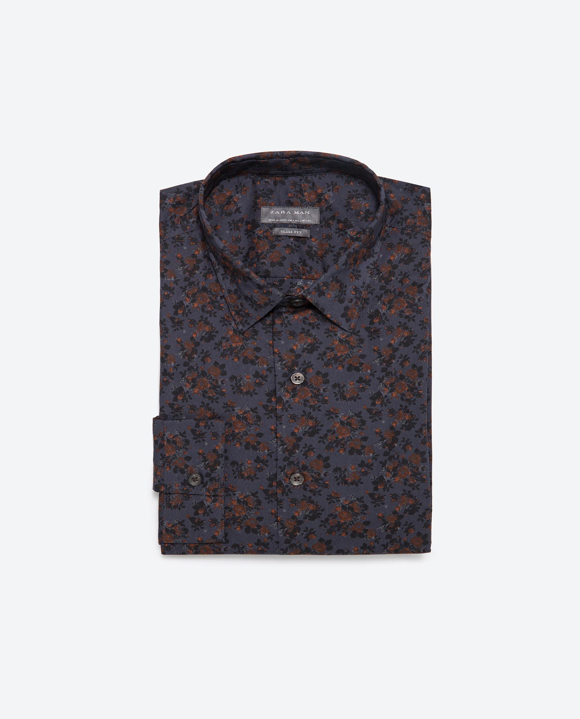 Zara floral print shirt floral print shirt in blue for men for Zara mens floral shirt