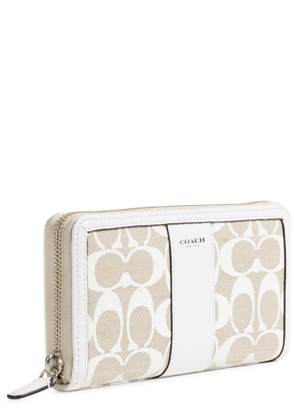 f0b886d3c382 COACH Cream Canvas And Leather Wallet in Natural - Lyst