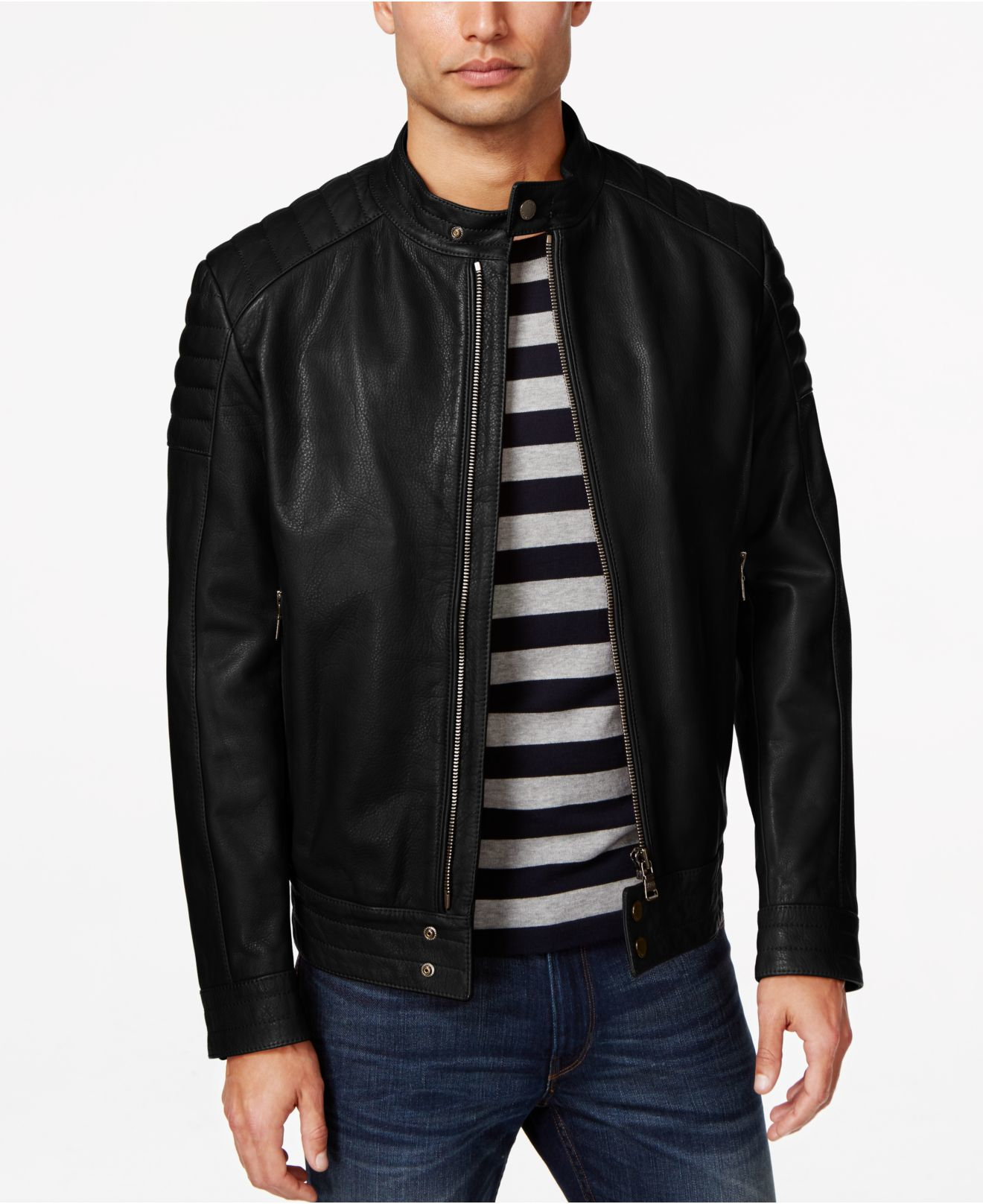 lyst boss black nupitz leather jacket in black for men