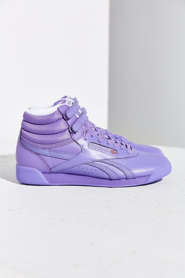 0db3e077a64ad6 Lyst - Reebok Freestyle Hi Spirit Sneaker in Purple