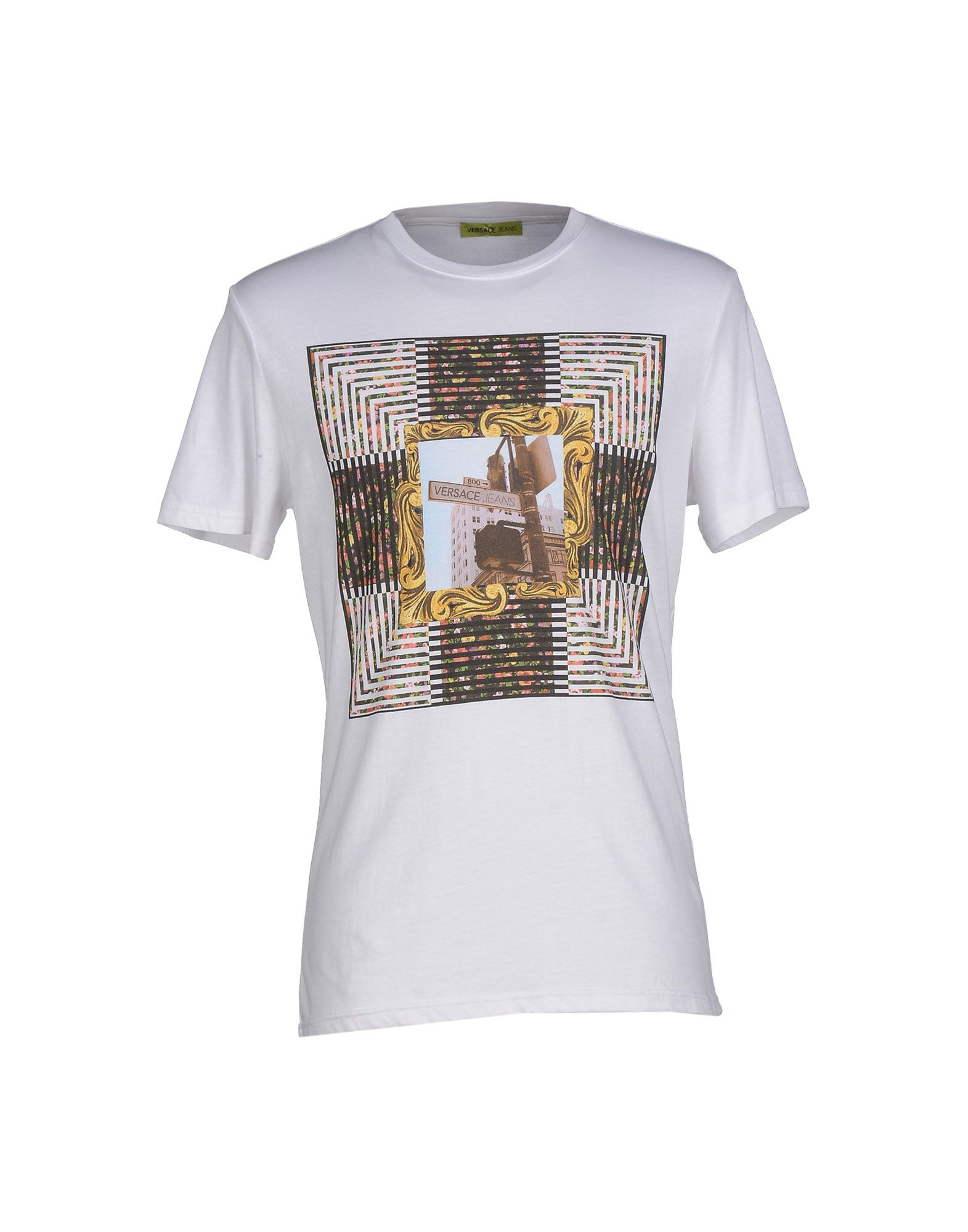 versace jeans t shirt in white for men lyst. Black Bedroom Furniture Sets. Home Design Ideas