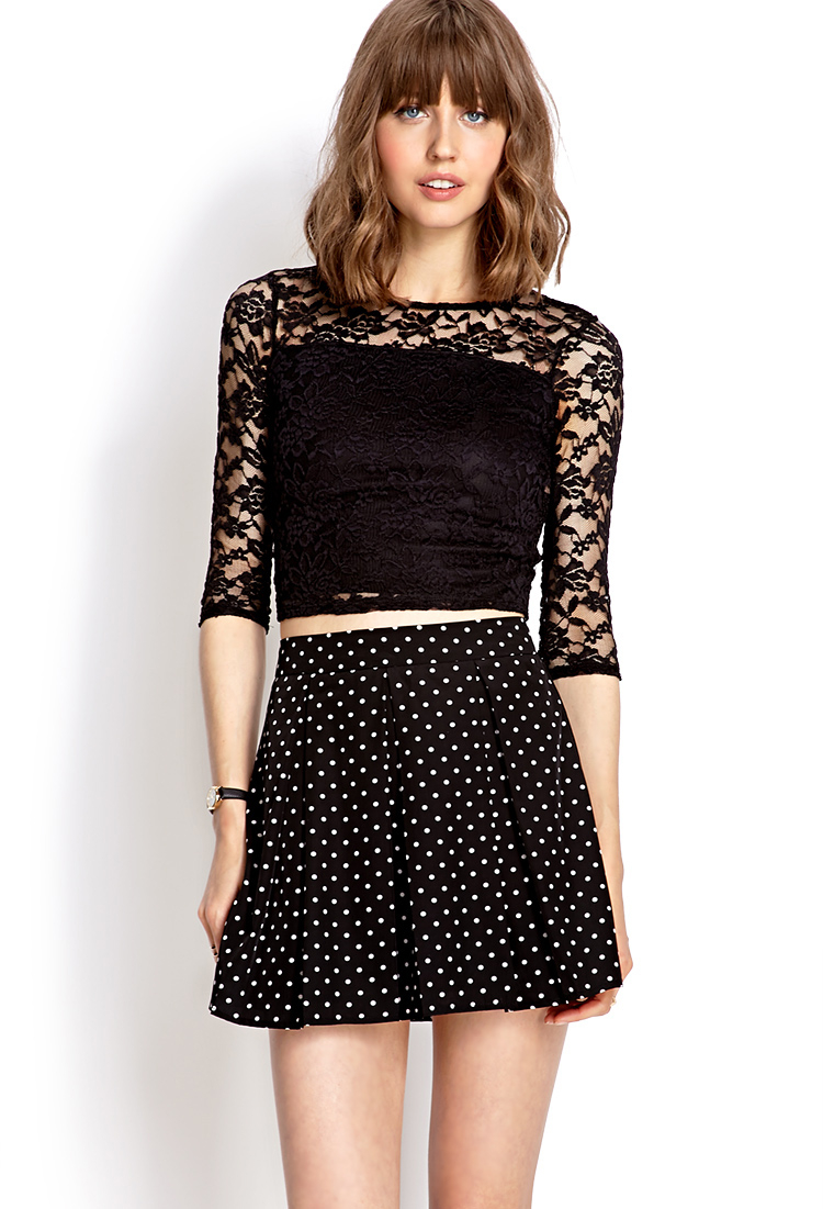 lyst forever 21 sweet lace crop top in black