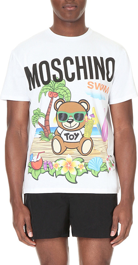 58970814 Moschino Teddy Bear Beach-print T-shirt in White for Men - Lyst