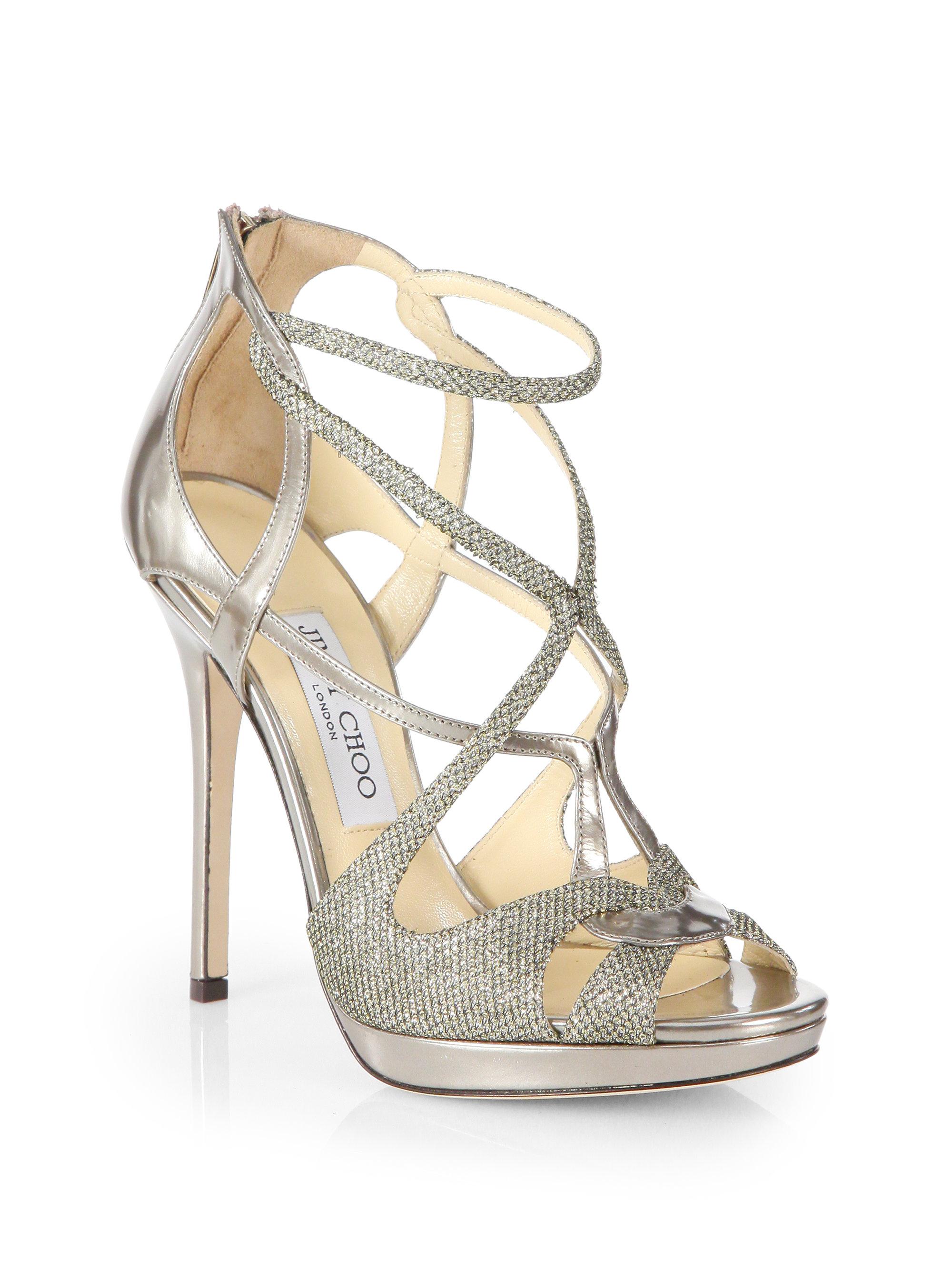 8e62a295752d Lyst - Jimmy Choo Sazerac Glitter Metallic Leather Strappy Sandals ...