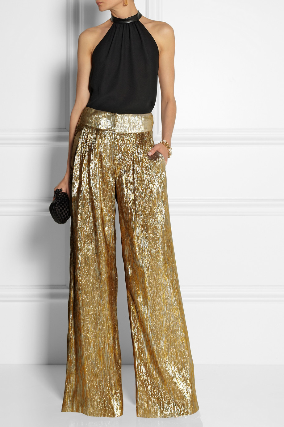 Oscar de la renta Silk-Blend Lamé Wide-Leg Pants in Metallic | Lyst