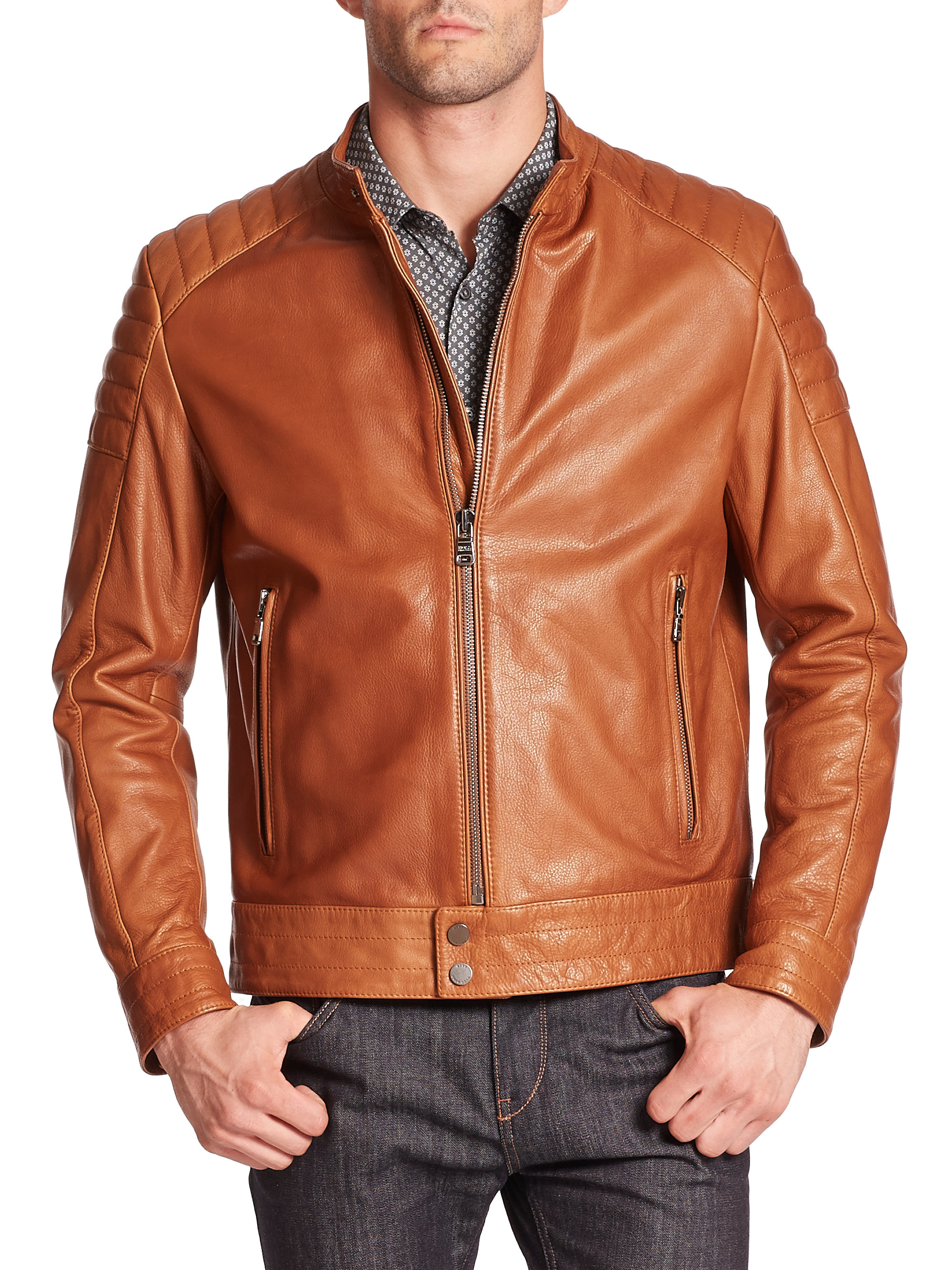Lyst Boss Nupitz Leather Moto Jacket In Brown For Men