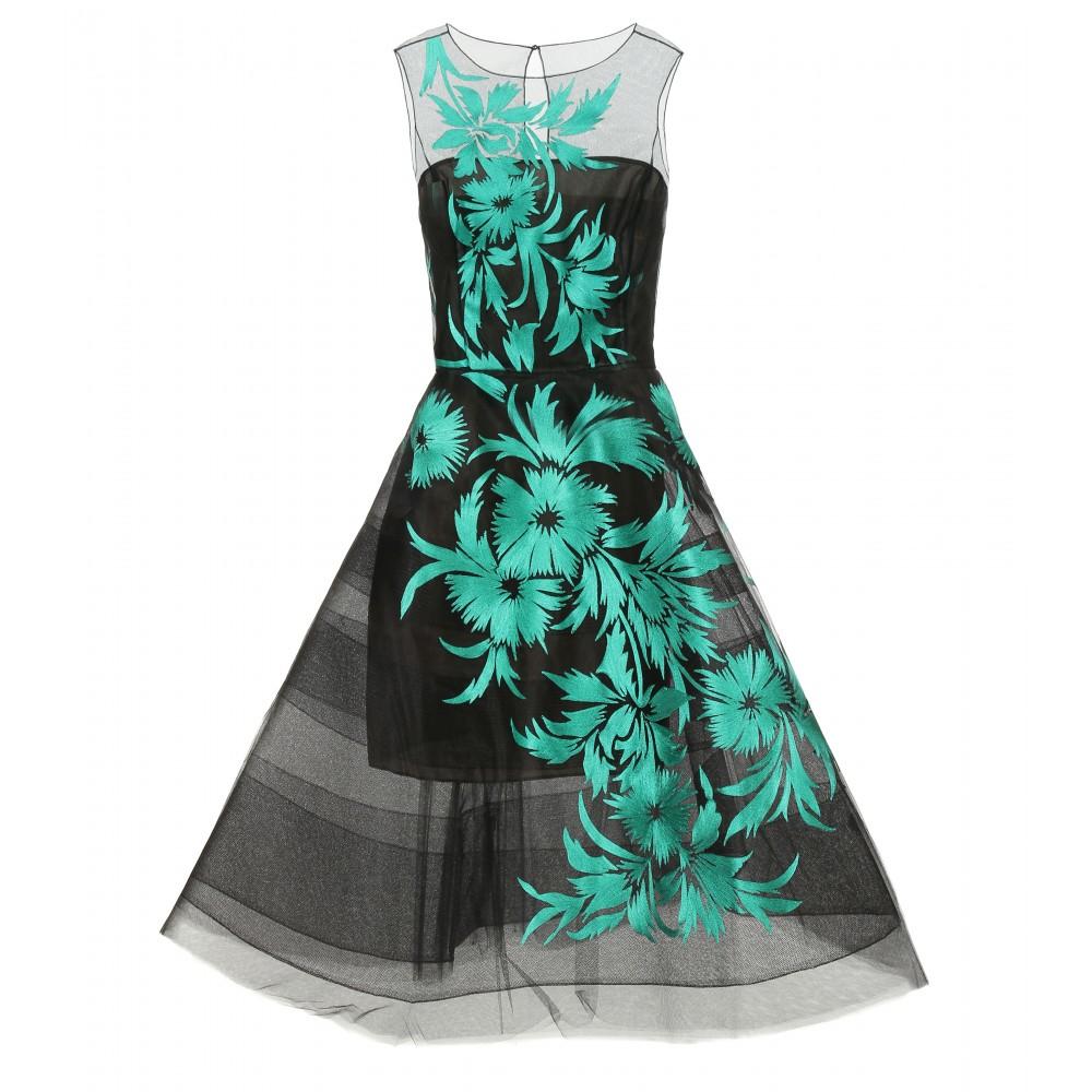 Oscar de la renta embroidered tulle dress in green lyst