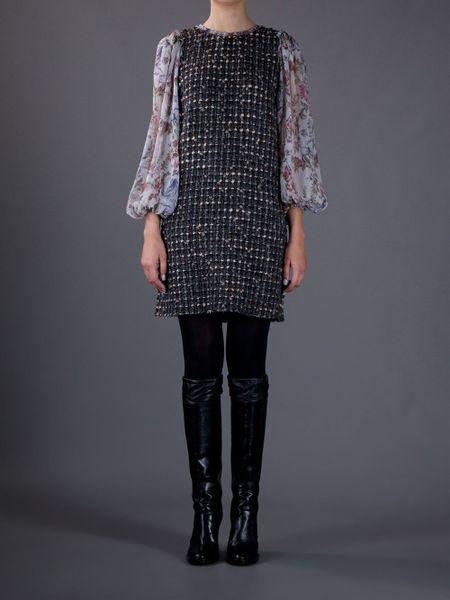 Dolce & Gabbana Tweed Dress in Multicolor (brown)
