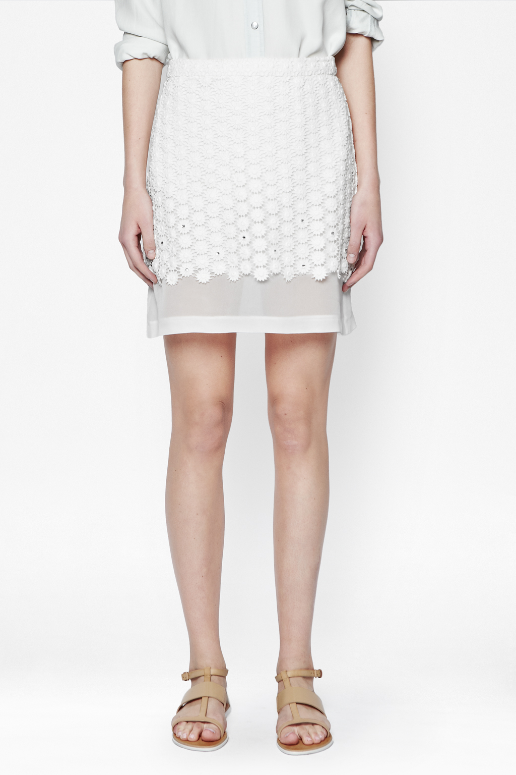 connection sparkle sunflower pencil skirt in white