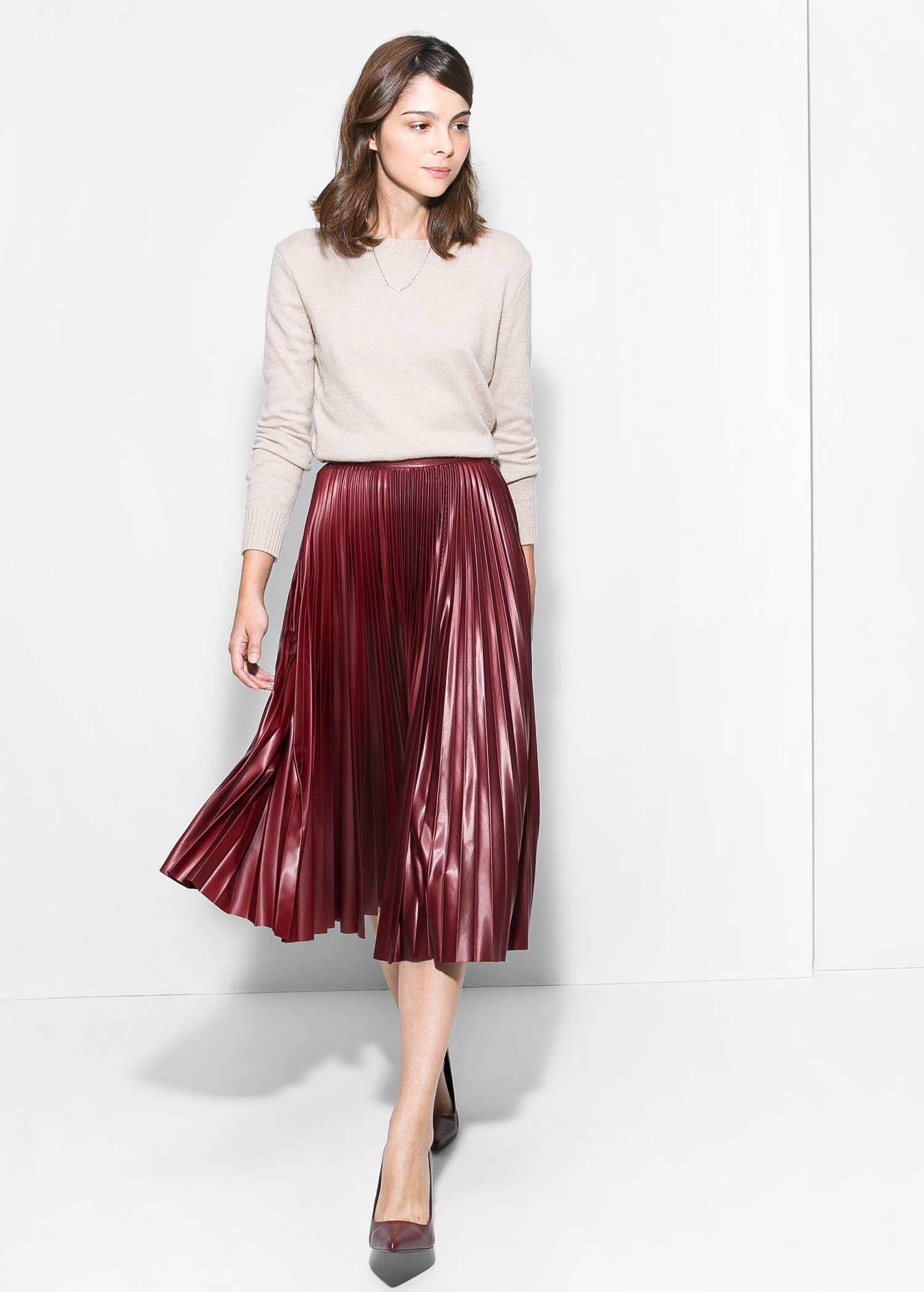 Mango Pleated Midi Skirt In Red Lyst